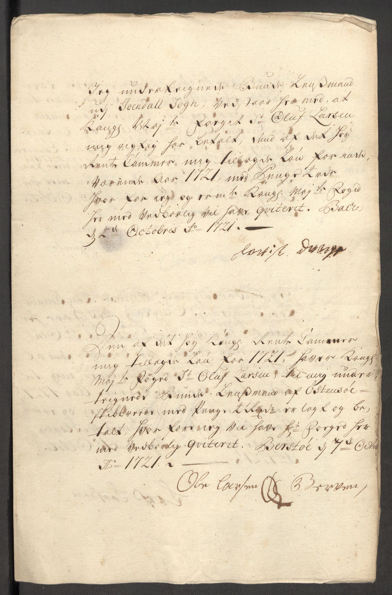 RA, Rentekammeret inntil 1814, Reviderte regnskaper, Fogderegnskap, R48/L3000: Fogderegnskap Sunnhordland og Hardanger, 1721, s. 336