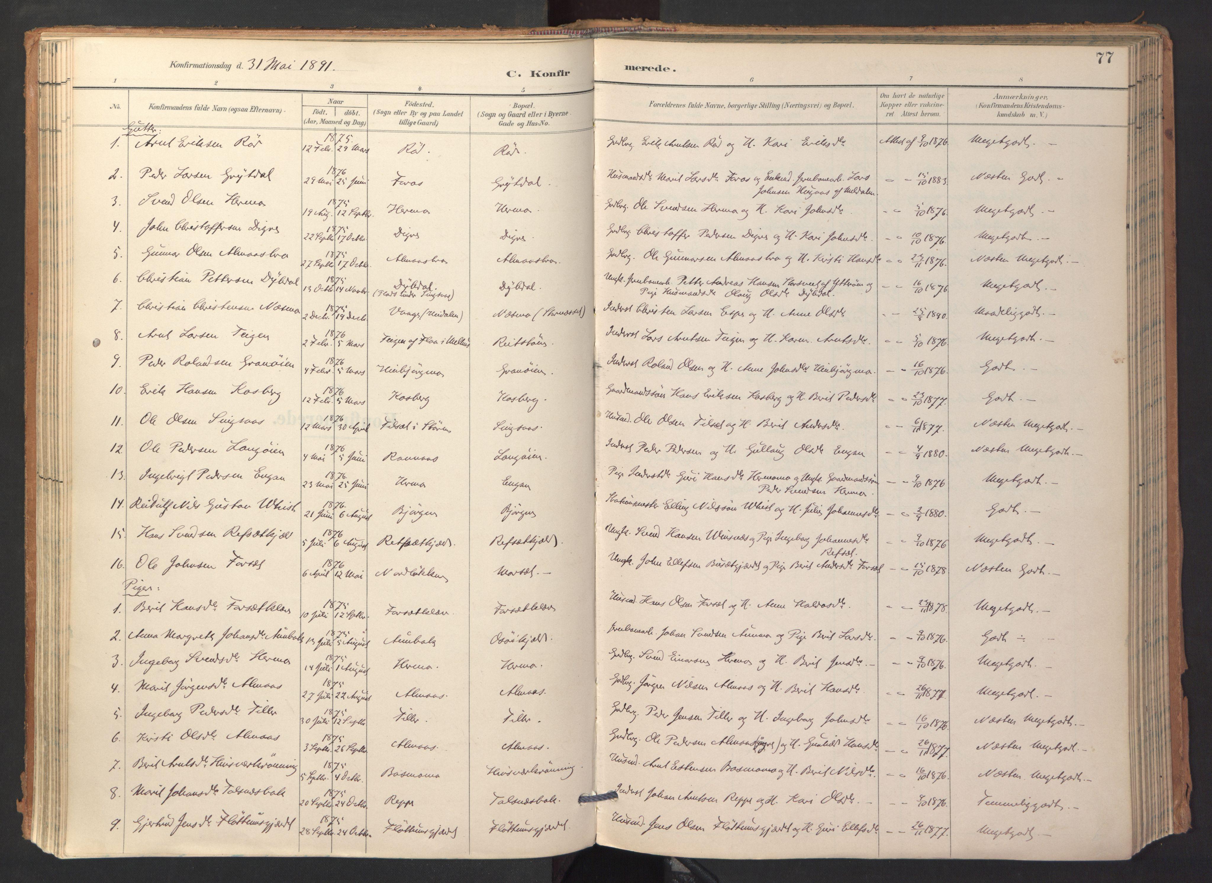 SAT, Ministerialprotokoller, klokkerbøker og fødselsregistre - Sør-Trøndelag, 688/L1025: Ministerialbok nr. 688A02, 1891-1909, s. 77