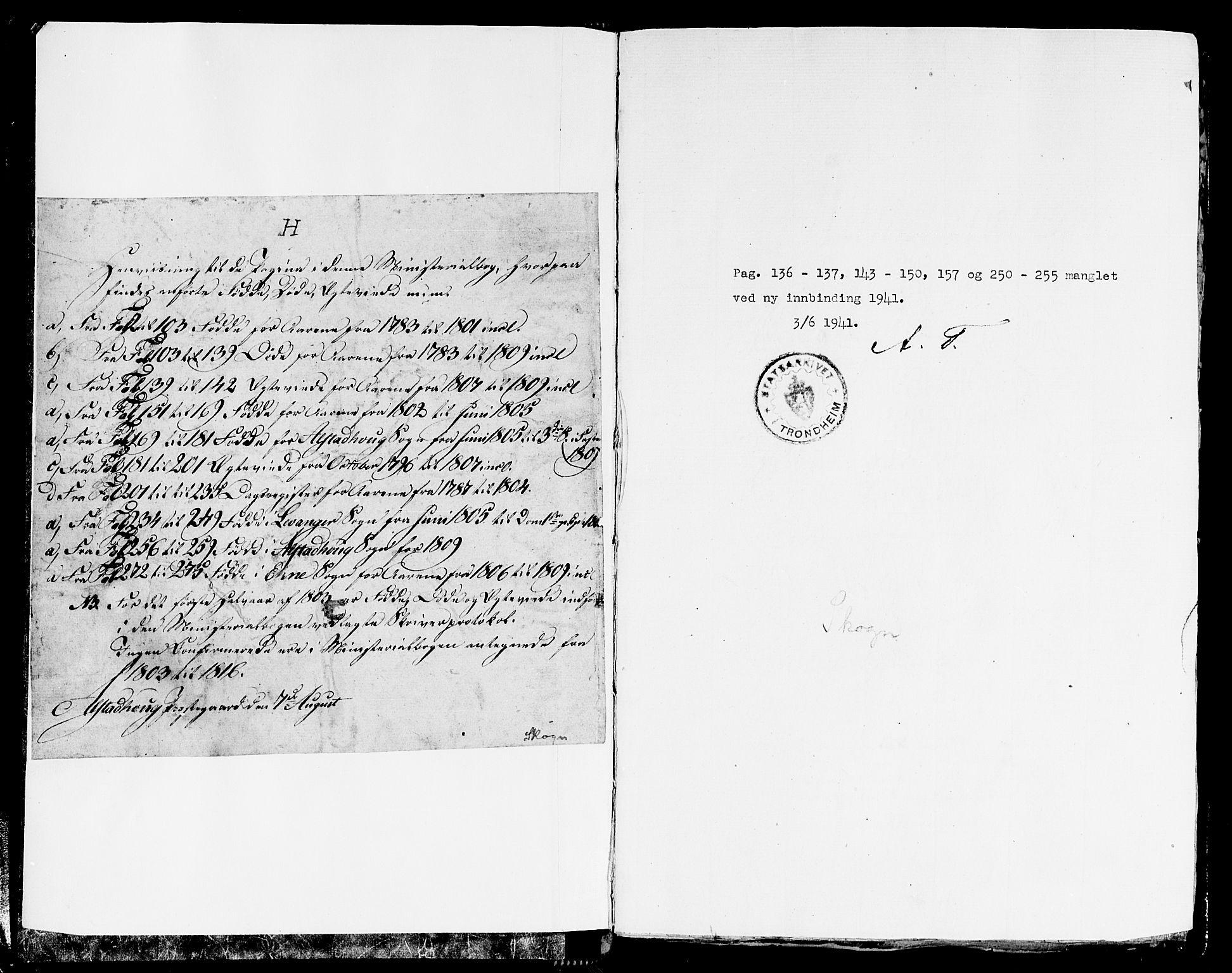 SAT, Ministerialprotokoller, klokkerbøker og fødselsregistre - Nord-Trøndelag, 717/L0142: Ministerialbok nr. 717A02 /1, 1783-1809