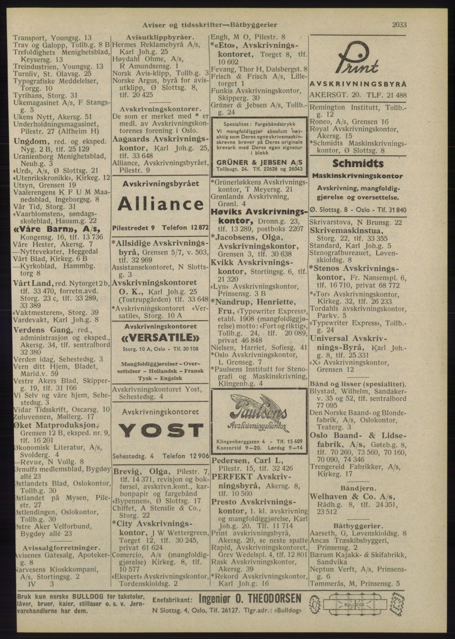 RA, Oslo adressebok (publikasjon)*, 1945, s. 2033