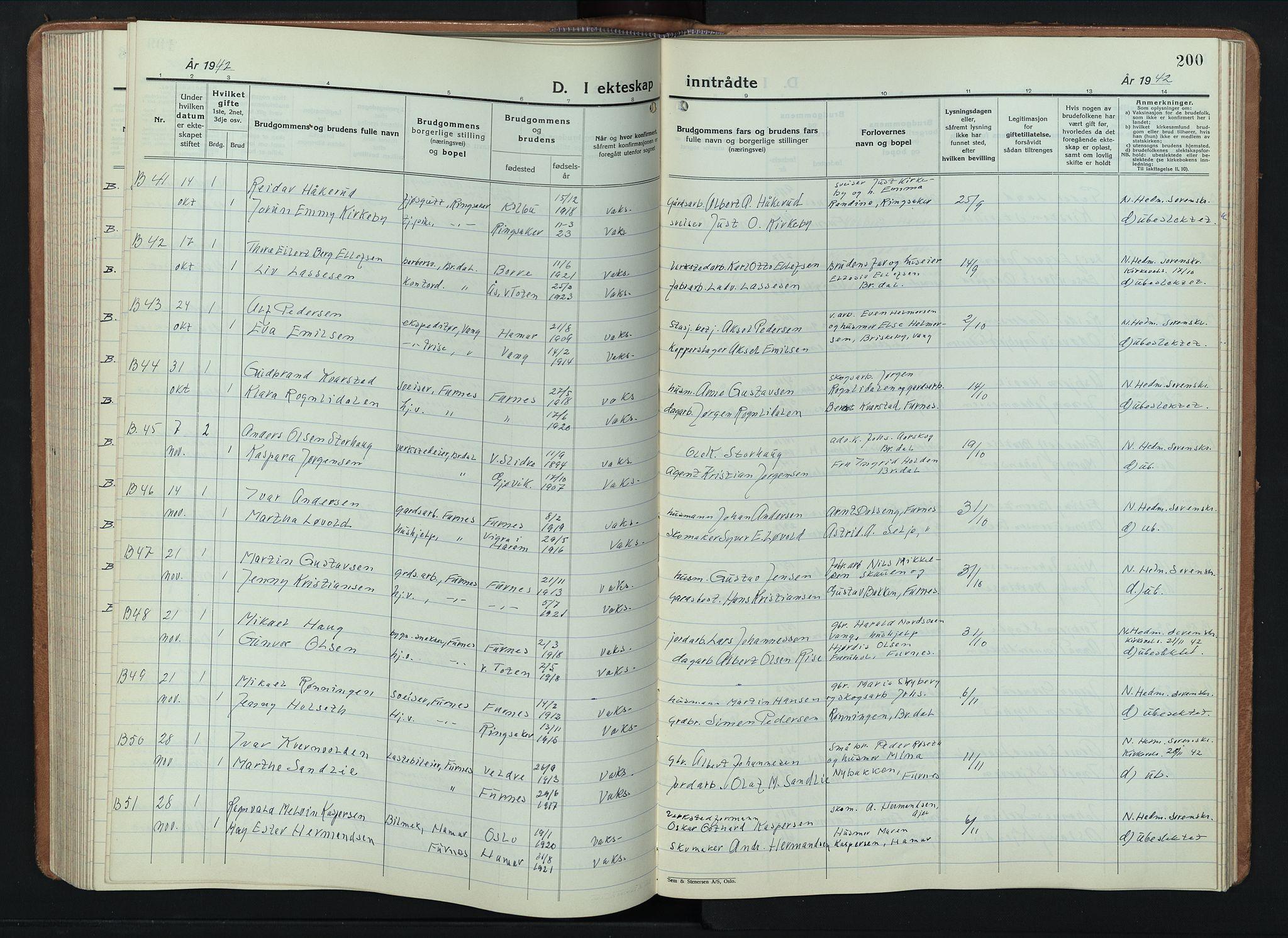 SAH, Furnes sokneprestkontor, L/La/L0002: Klokkerbok nr. 2, 1934-1956, s. 200