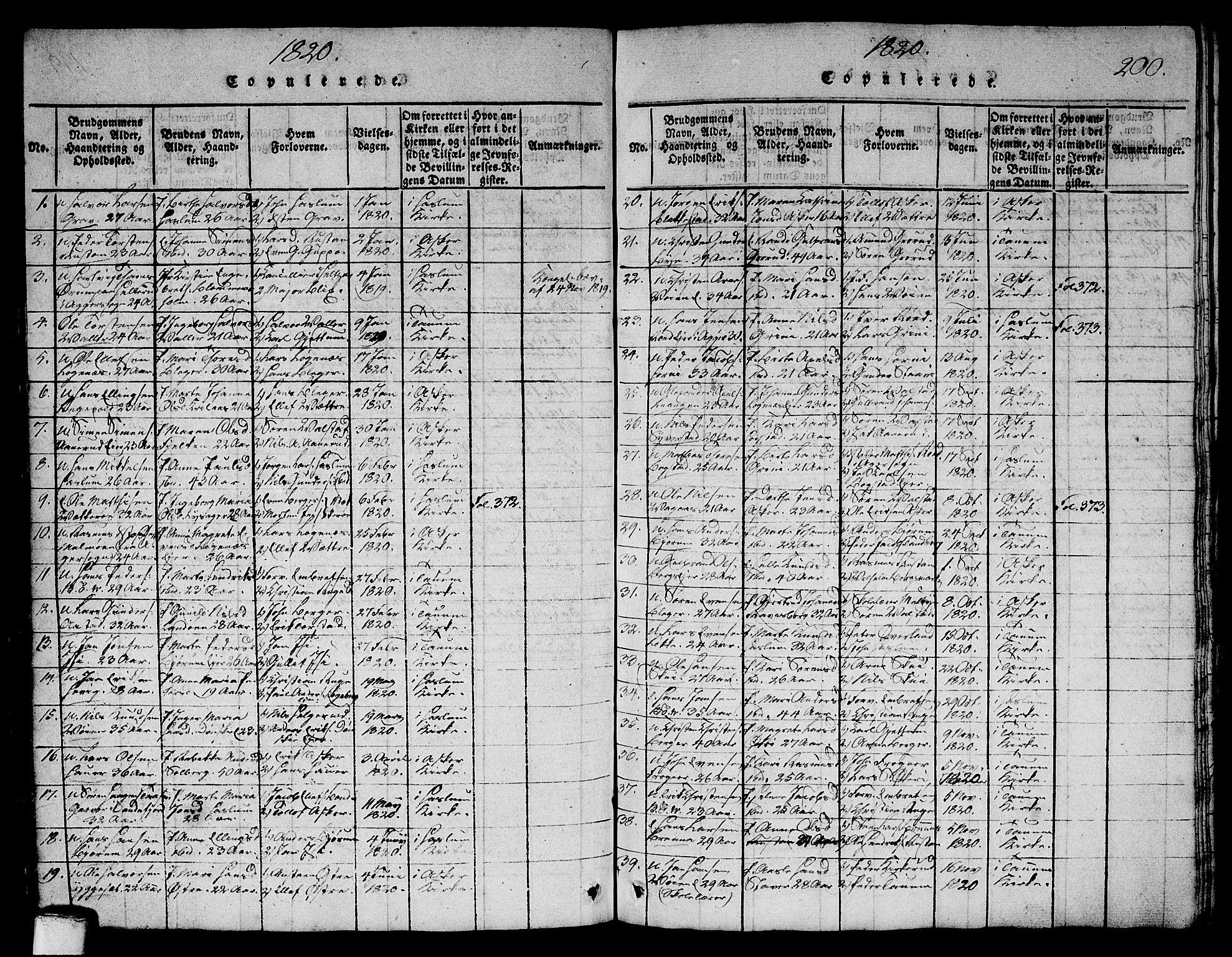 SAO, Asker prestekontor Kirkebøker, G/Ga/L0001: Klokkerbok nr. I 1, 1814-1830, s. 200