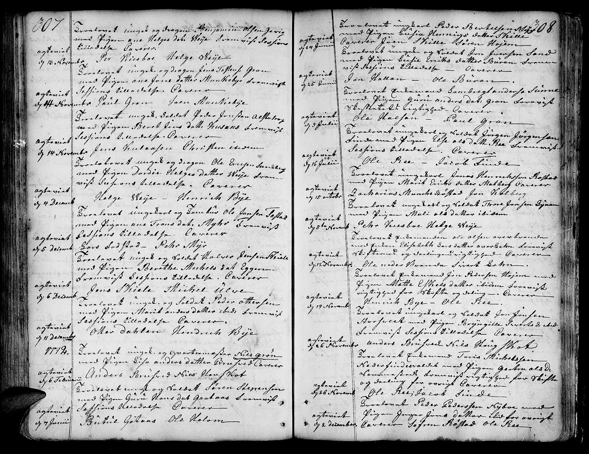 SAT, Ministerialprotokoller, klokkerbøker og fødselsregistre - Nord-Trøndelag, 717/L0141: Ministerialbok nr. 717A01, 1747-1803, s. 307-308
