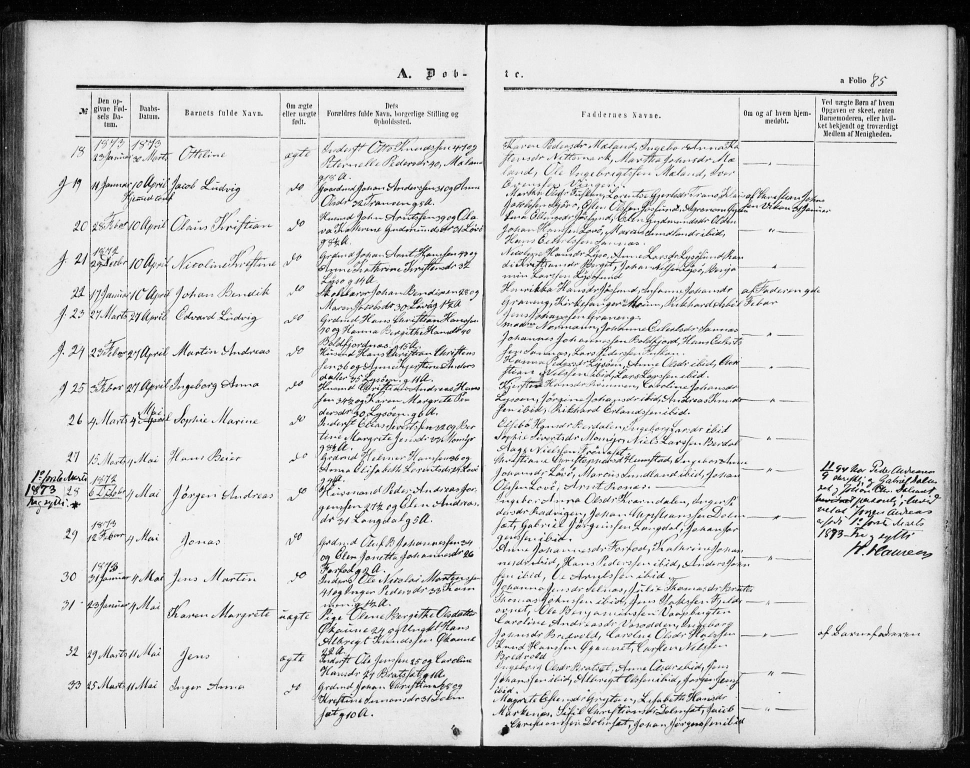 SAT, Ministerialprotokoller, klokkerbøker og fødselsregistre - Sør-Trøndelag, 655/L0678: Ministerialbok nr. 655A07, 1861-1873, s. 85