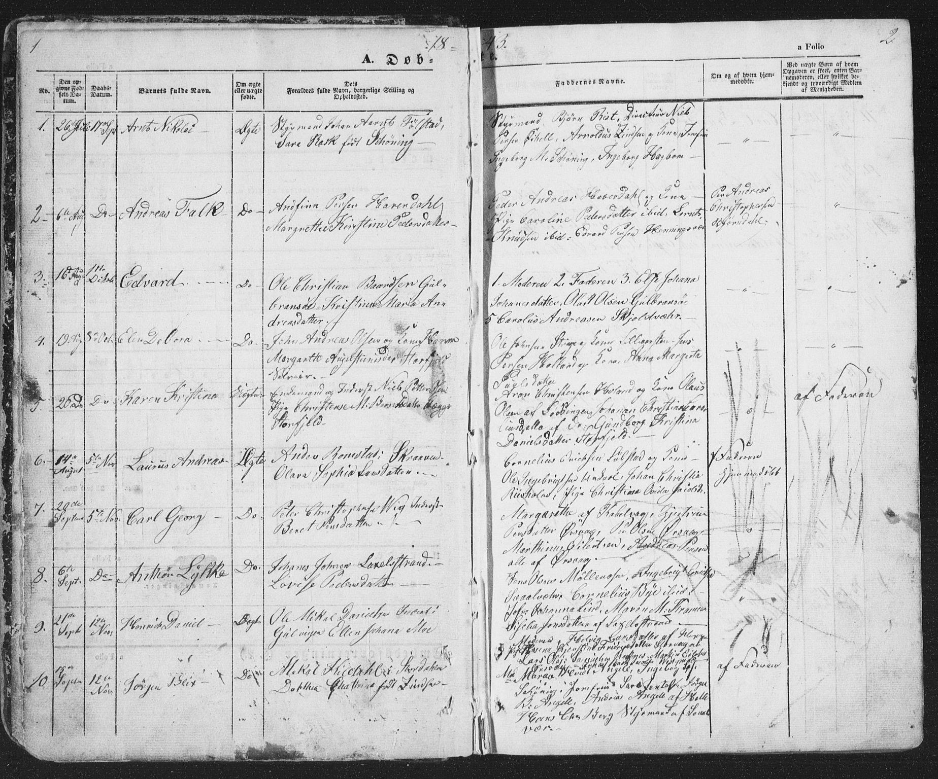 SAT, Ministerialprotokoller, klokkerbøker og fødselsregistre - Nordland, 874/L1072: Klokkerbok nr. 874C01, 1843-1859, s. 1-2