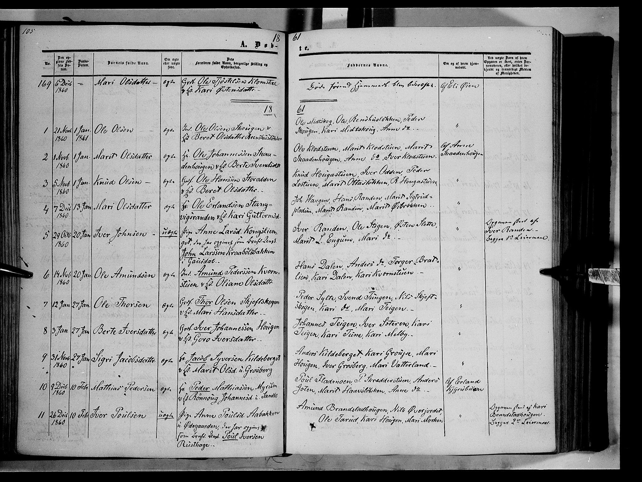 SAH, Nord-Fron prestekontor, Ministerialbok nr. 1, 1851-1864, s. 105