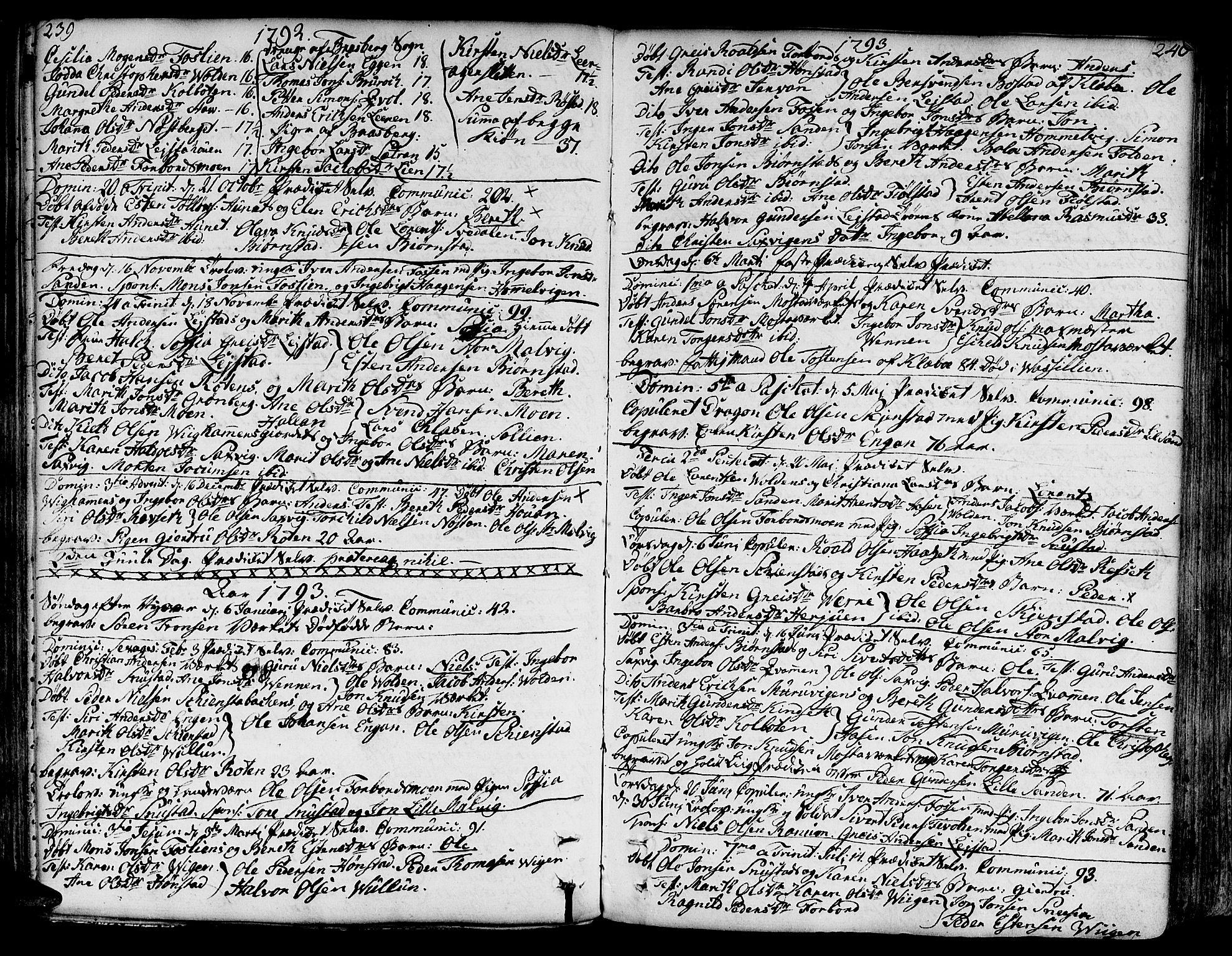 SAT, Ministerialprotokoller, klokkerbøker og fødselsregistre - Sør-Trøndelag, 606/L0281: Ministerialbok nr. 606A02 /2, 1781-1817, s. 239-240