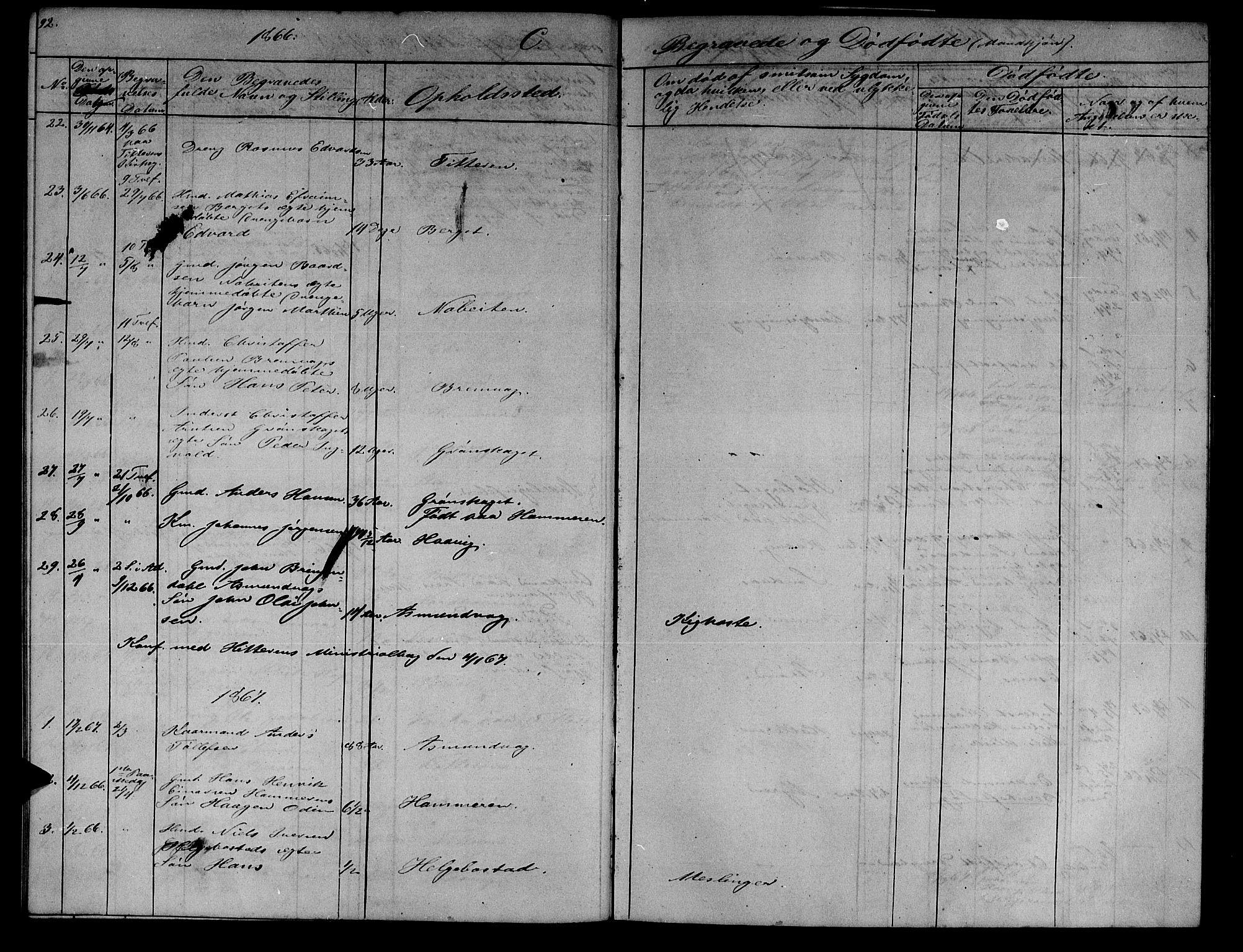 SAT, Ministerialprotokoller, klokkerbøker og fødselsregistre - Sør-Trøndelag, 634/L0539: Klokkerbok nr. 634C01, 1866-1873, s. 92