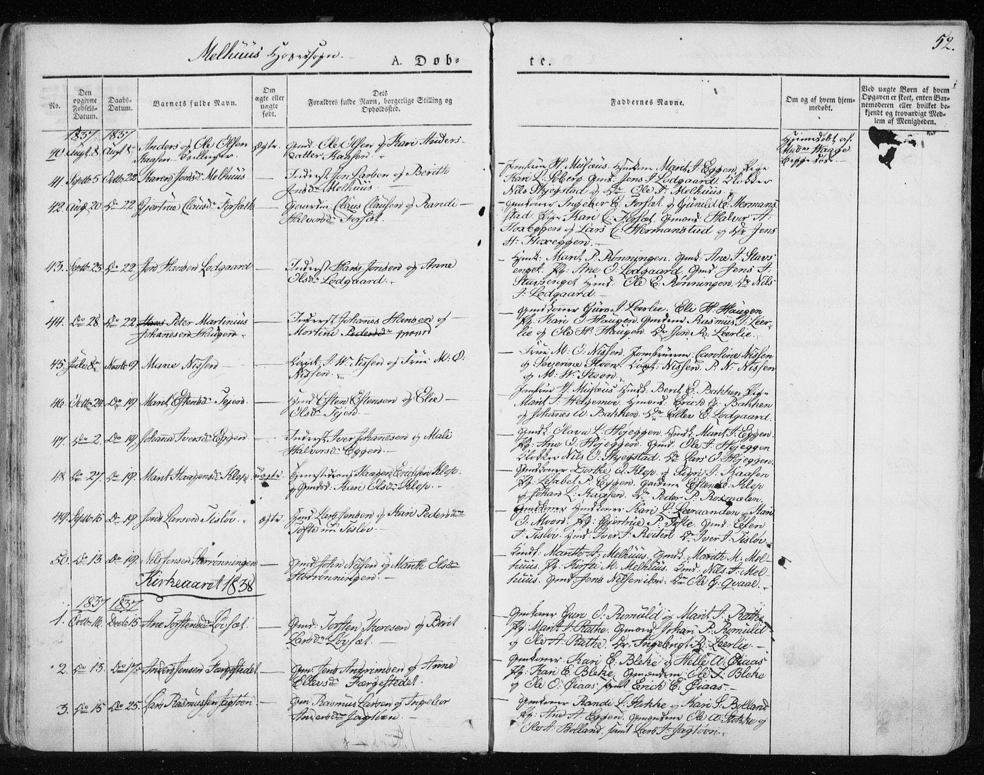SAT, Ministerialprotokoller, klokkerbøker og fødselsregistre - Sør-Trøndelag, 691/L1069: Ministerialbok nr. 691A04, 1826-1841, s. 52