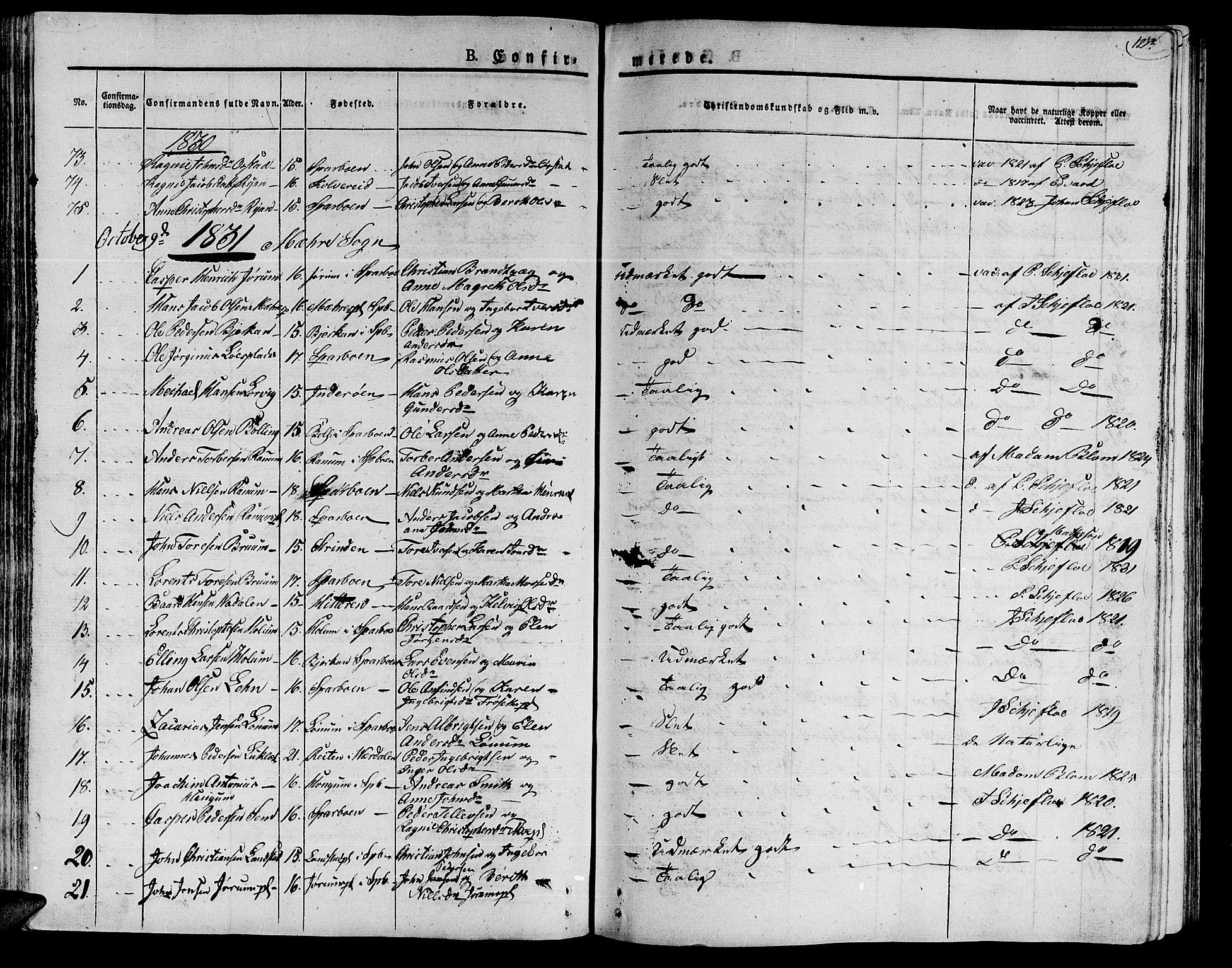 SAT, Ministerialprotokoller, klokkerbøker og fødselsregistre - Nord-Trøndelag, 735/L0336: Ministerialbok nr. 735A05 /1, 1825-1835, s. 123