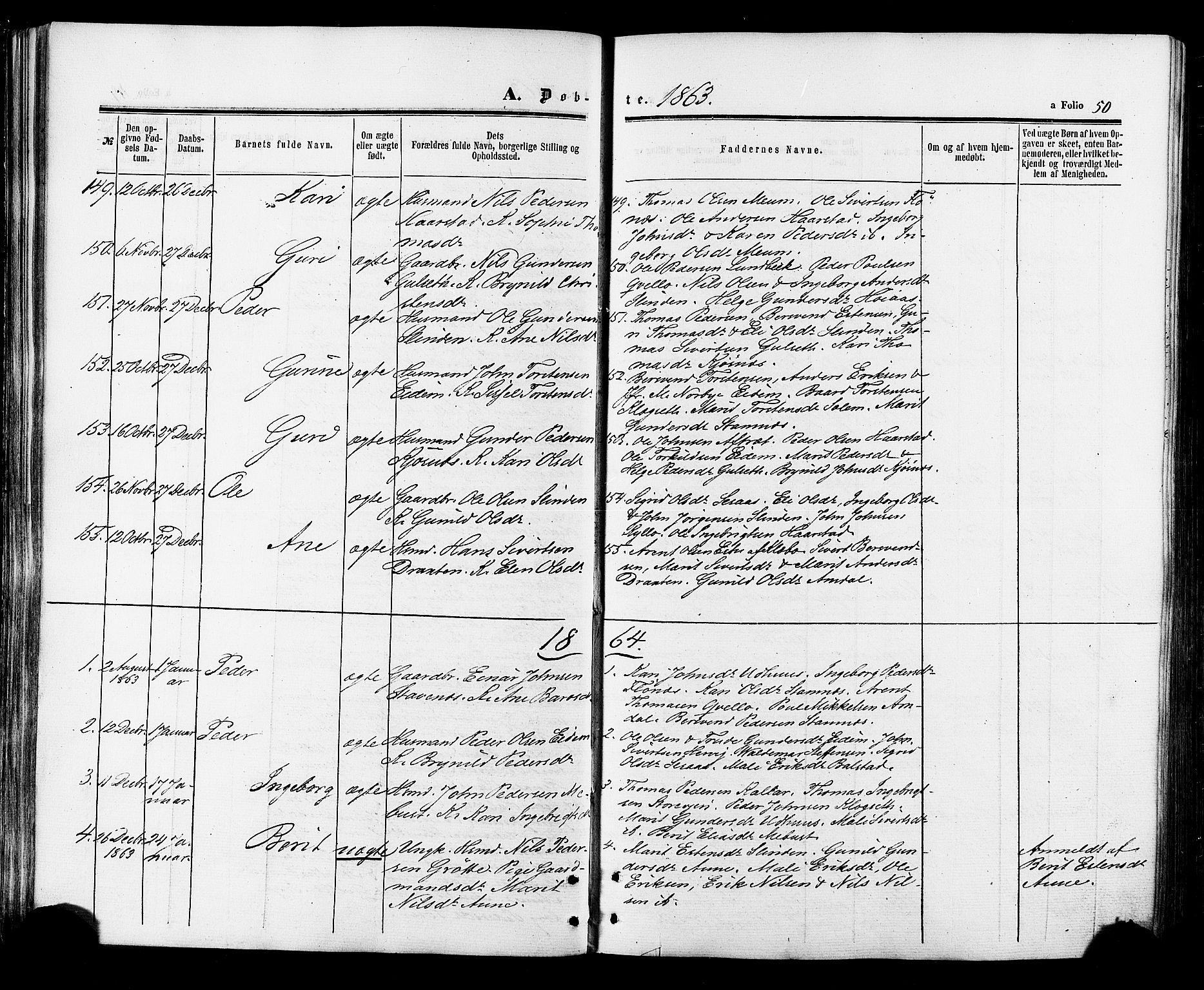 SAT, Ministerialprotokoller, klokkerbøker og fødselsregistre - Sør-Trøndelag, 695/L1147: Ministerialbok nr. 695A07, 1860-1877, s. 50