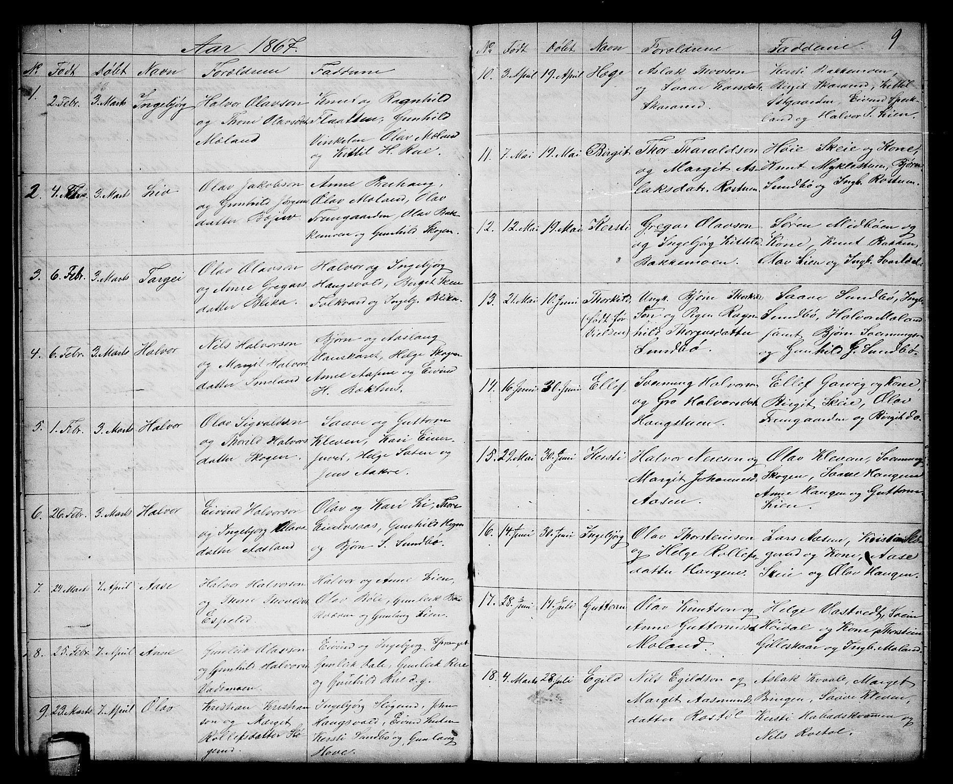 SAKO, Seljord kirkebøker, G/Gb/L0003: Klokkerbok nr. II 3, 1863-1884, s. 9
