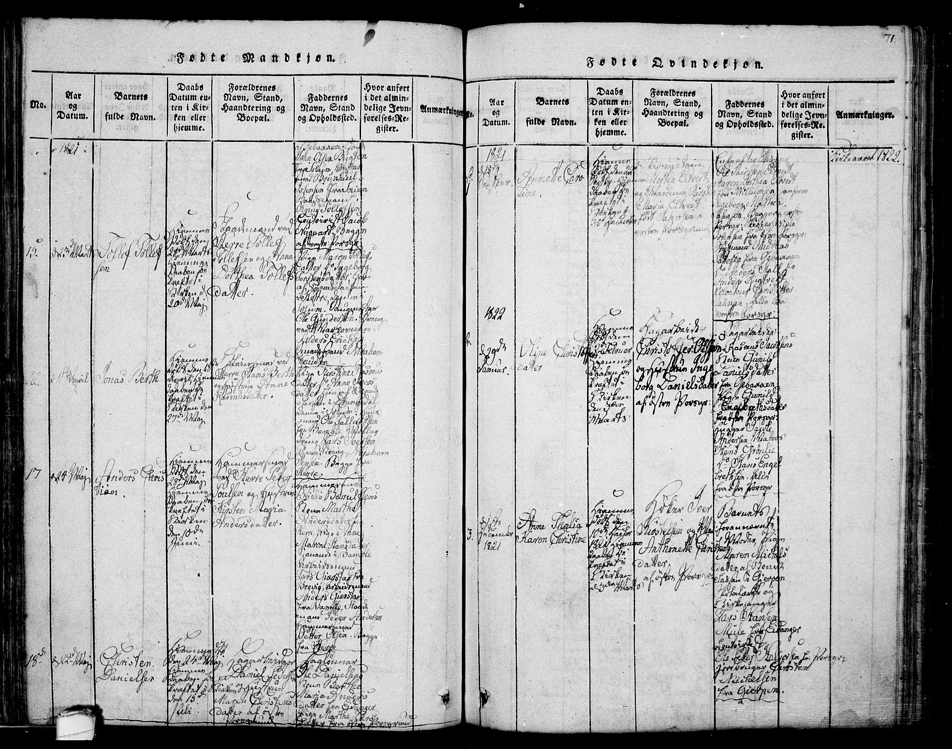 SAKO, Porsgrunn kirkebøker , F/Fa/L0004: Ministerialbok nr. 4, 1814-1828, s. 71