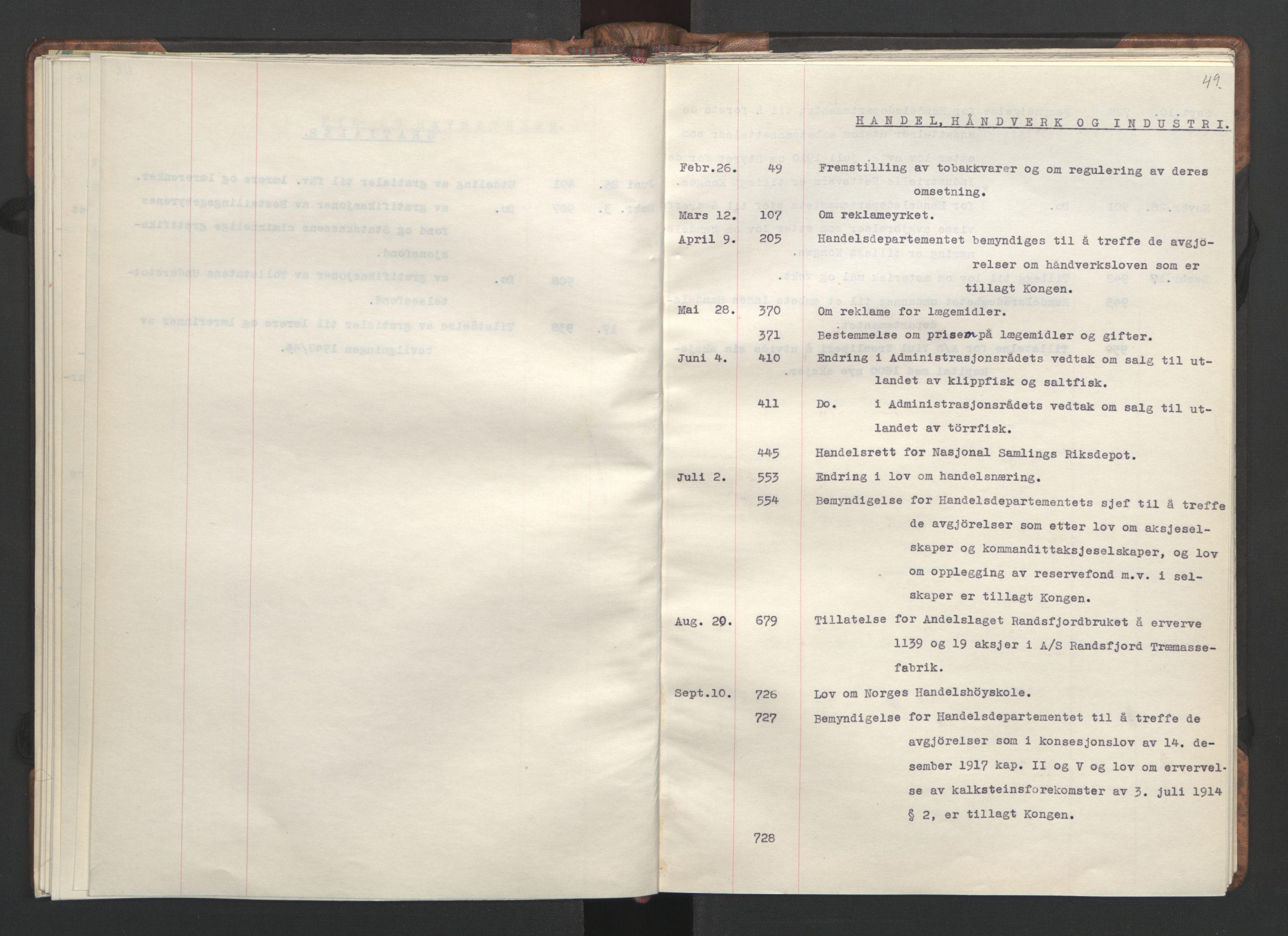 RA, NS-administrasjonen 1940-1945 (Statsrådsekretariatet, de kommisariske statsråder mm), D/Da/L0002: Register (RA j.nr. 985/1943, tilgangsnr. 17/1943), 1942, s. 48b-49a