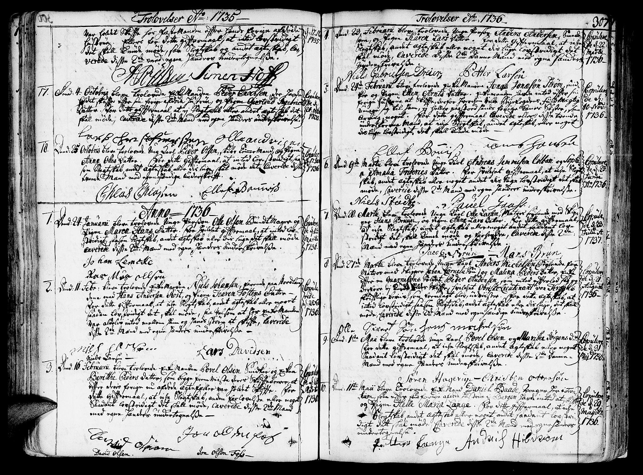 SAT, Ministerialprotokoller, klokkerbøker og fødselsregistre - Sør-Trøndelag, 602/L0103: Ministerialbok nr. 602A01, 1732-1774, s. 307