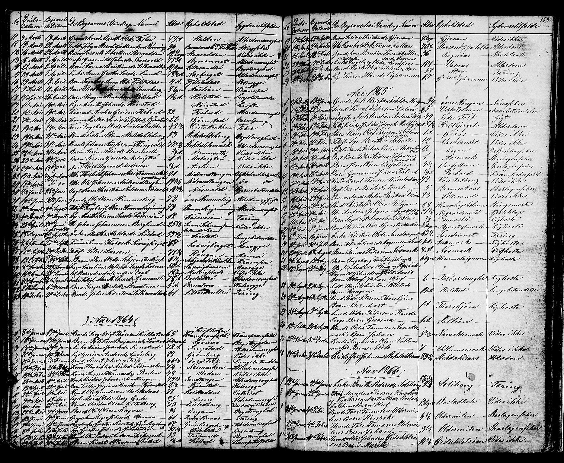 SAT, Ministerialprotokoller, klokkerbøker og fødselsregistre - Sør-Trøndelag, 616/L0422: Klokkerbok nr. 616C05, 1850-1888, s. 158