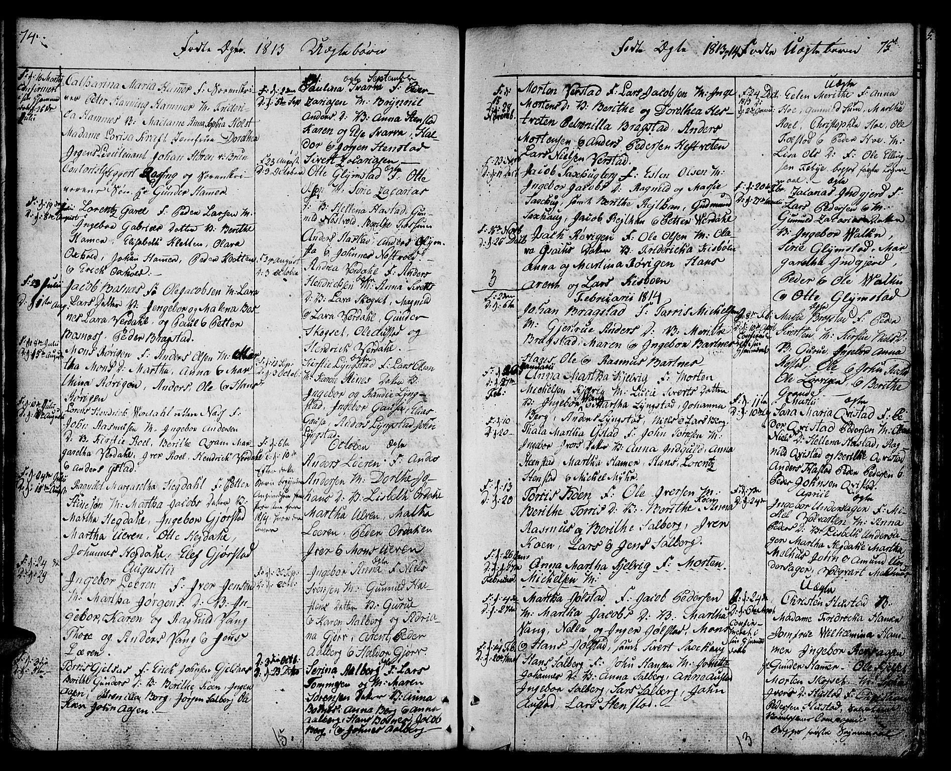 SAT, Ministerialprotokoller, klokkerbøker og fødselsregistre - Nord-Trøndelag, 730/L0274: Ministerialbok nr. 730A03, 1802-1816, s. 74-75