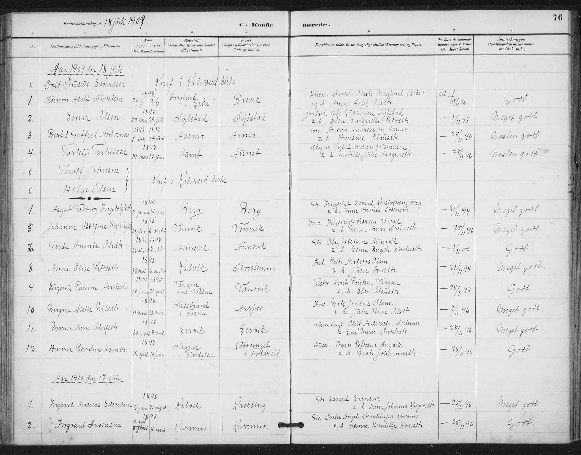 SAT, Ministerialprotokoller, klokkerbøker og fødselsregistre - Nord-Trøndelag, 783/L0660: Ministerialbok nr. 783A02, 1886-1918, s. 76