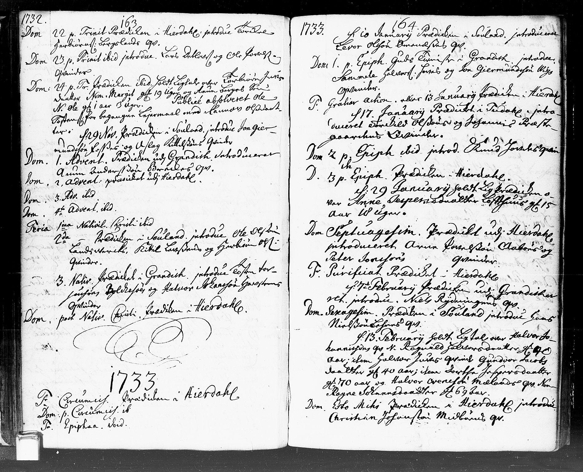 SAKO, Hjartdal kirkebøker, F/Fa/L0002: Ministerialbok nr. I 2, 1716-1754, s. 163-164