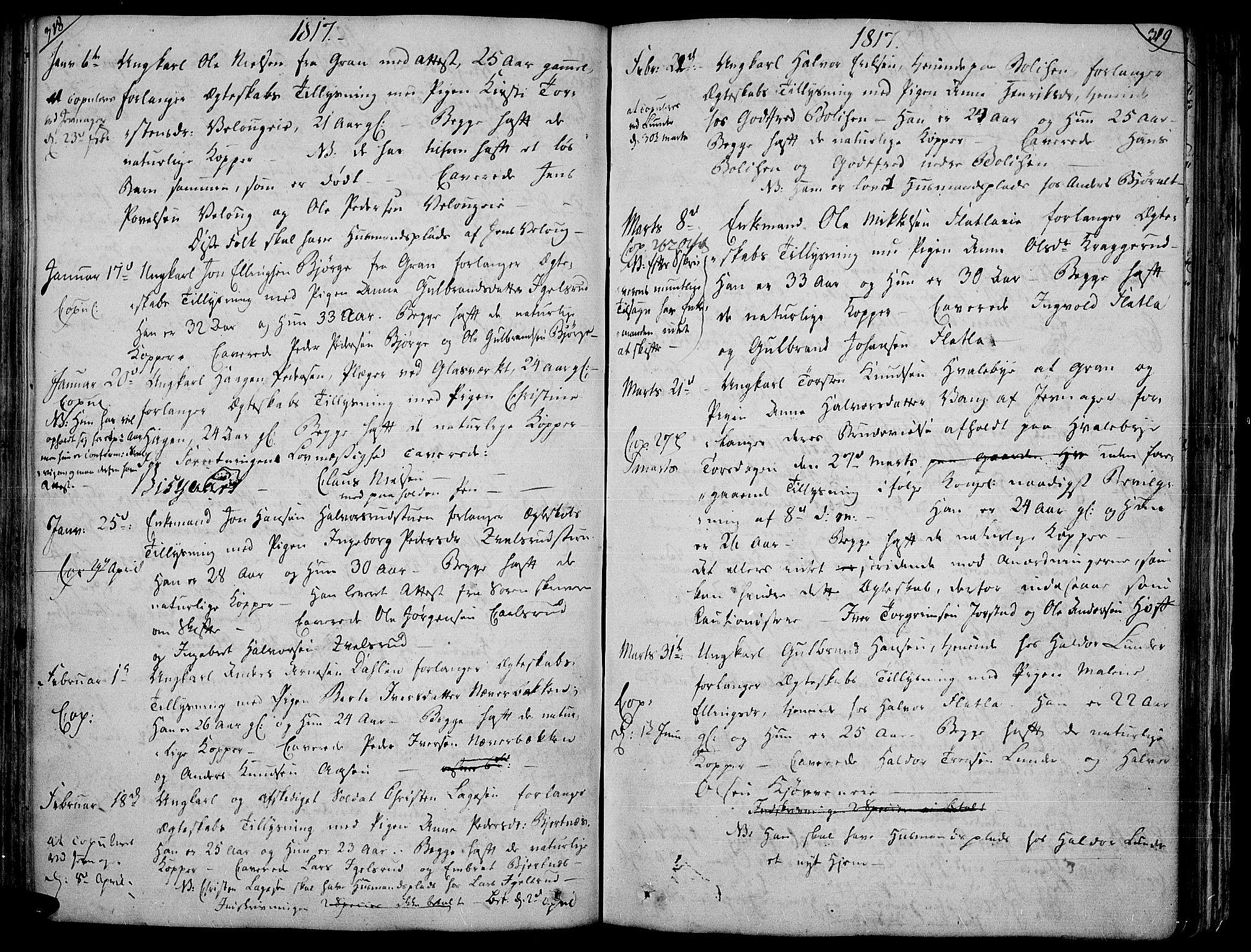 SAH, Jevnaker prestekontor, Ministerialbok nr. 4, 1800-1861, s. 318-319