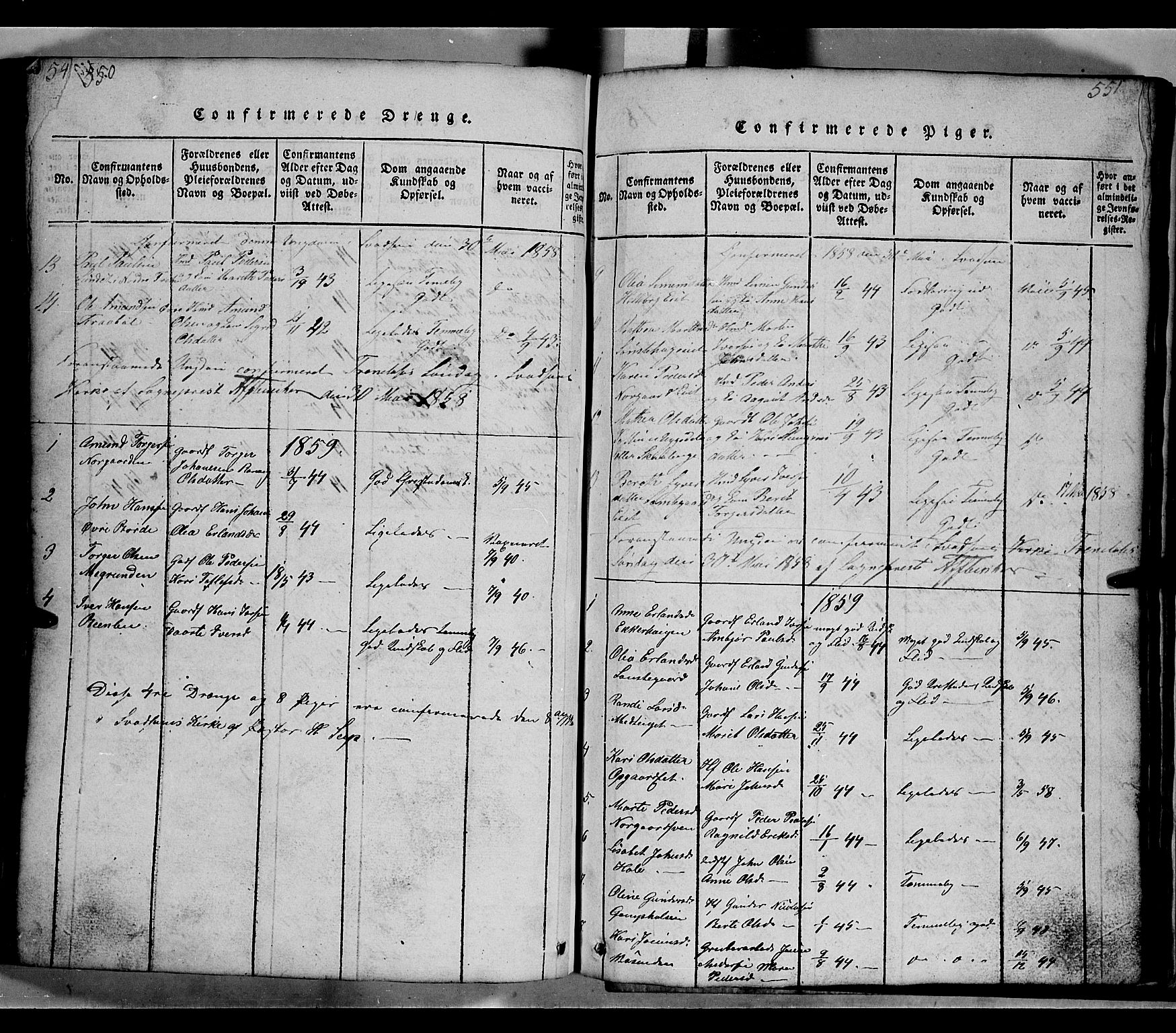 SAH, Gausdal prestekontor, Klokkerbok nr. 2, 1818-1874, s. 550-551