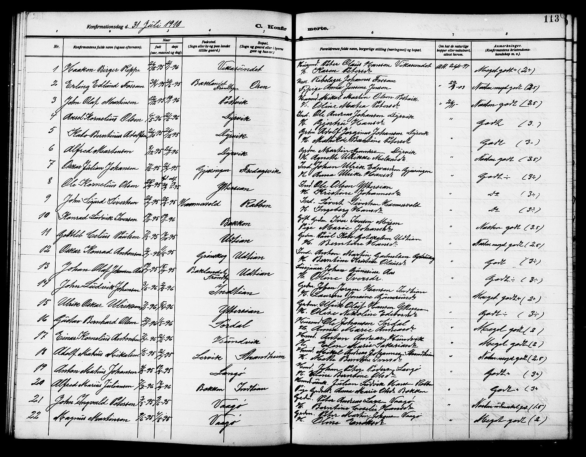 SAT, Ministerialprotokoller, klokkerbøker og fødselsregistre - Sør-Trøndelag, 640/L0588: Klokkerbok nr. 640C05, 1909-1922, s. 113