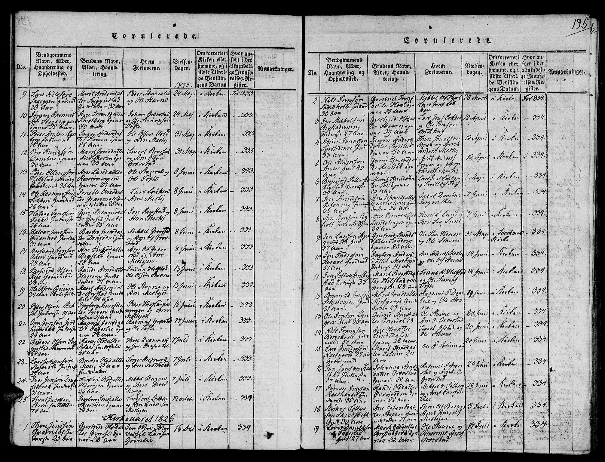 SAT, Ministerialprotokoller, klokkerbøker og fødselsregistre - Sør-Trøndelag, 672/L0853: Ministerialbok nr. 672A06 /1, 1816-1829, s. 195