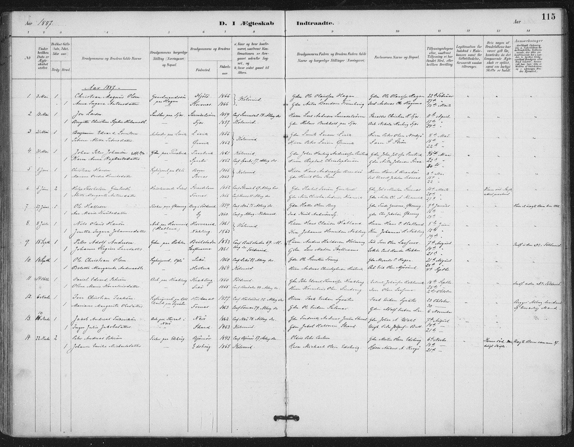 SAT, Ministerialprotokoller, klokkerbøker og fødselsregistre - Nord-Trøndelag, 780/L0644: Ministerialbok nr. 780A08, 1886-1903, s. 115
