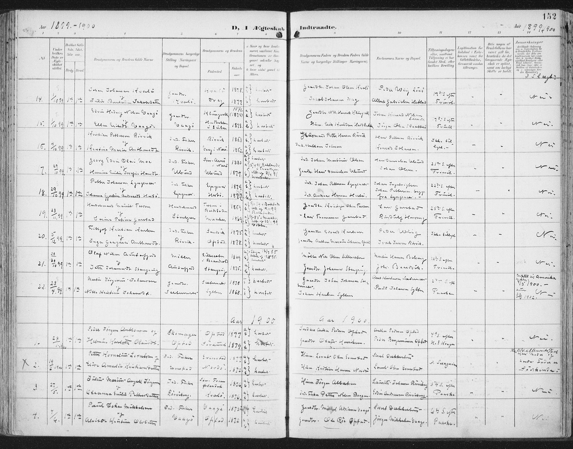 SAT, Ministerialprotokoller, klokkerbøker og fødselsregistre - Nord-Trøndelag, 786/L0688: Ministerialbok nr. 786A04, 1899-1912, s. 152