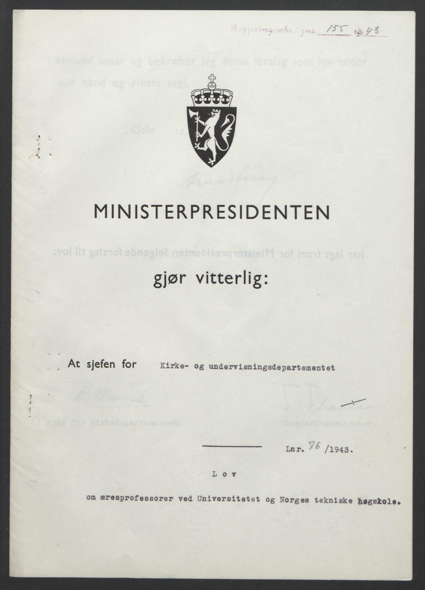 RA, NS-administrasjonen 1940-1945 (Statsrådsekretariatet, de kommisariske statsråder mm), D/Db/L0099: Lover, 1943, s. 349