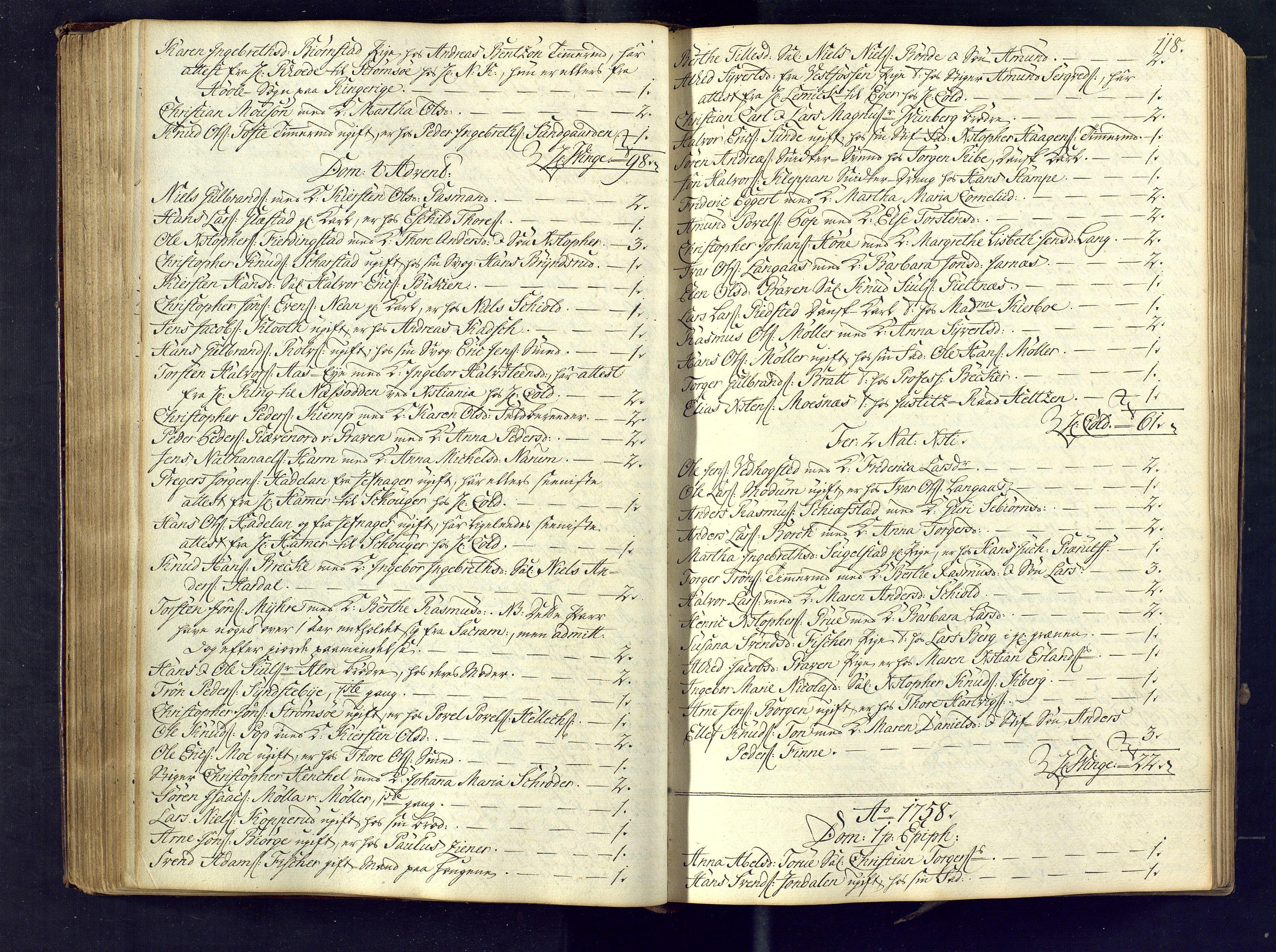SAKO, Kongsberg kirkebøker, M/Ma/L0005: Kommunikantprotokoll nr. 5, 1755-1761, s. 118