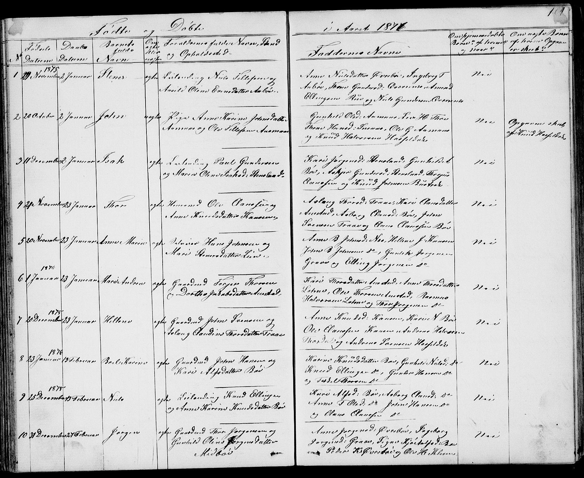 SAKO, Drangedal kirkebøker, G/Gb/L0001: Klokkerbok nr. II 1, 1856-1894, s. 104