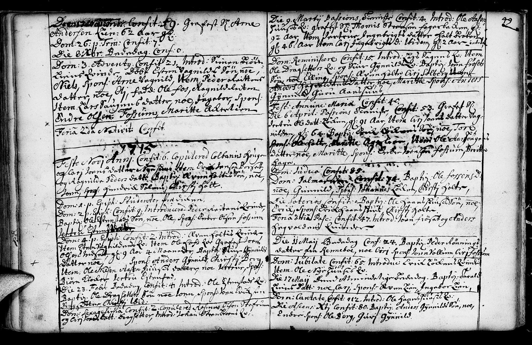 SAT, Ministerialprotokoller, klokkerbøker og fødselsregistre - Sør-Trøndelag, 689/L1036: Ministerialbok nr. 689A01, 1696-1746, s. 49