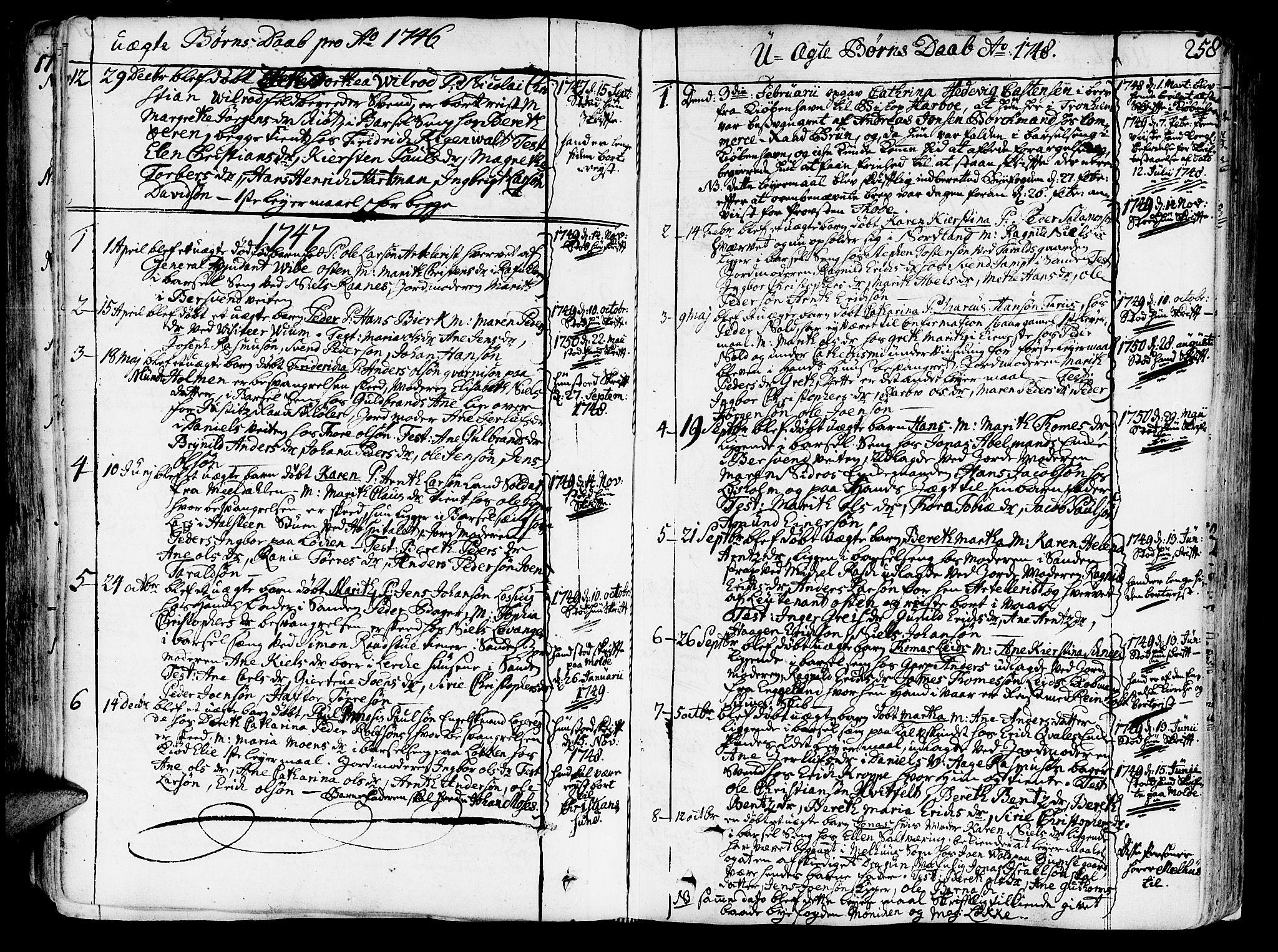 SAT, Ministerialprotokoller, klokkerbøker og fødselsregistre - Sør-Trøndelag, 602/L0103: Ministerialbok nr. 602A01, 1732-1774, s. 258