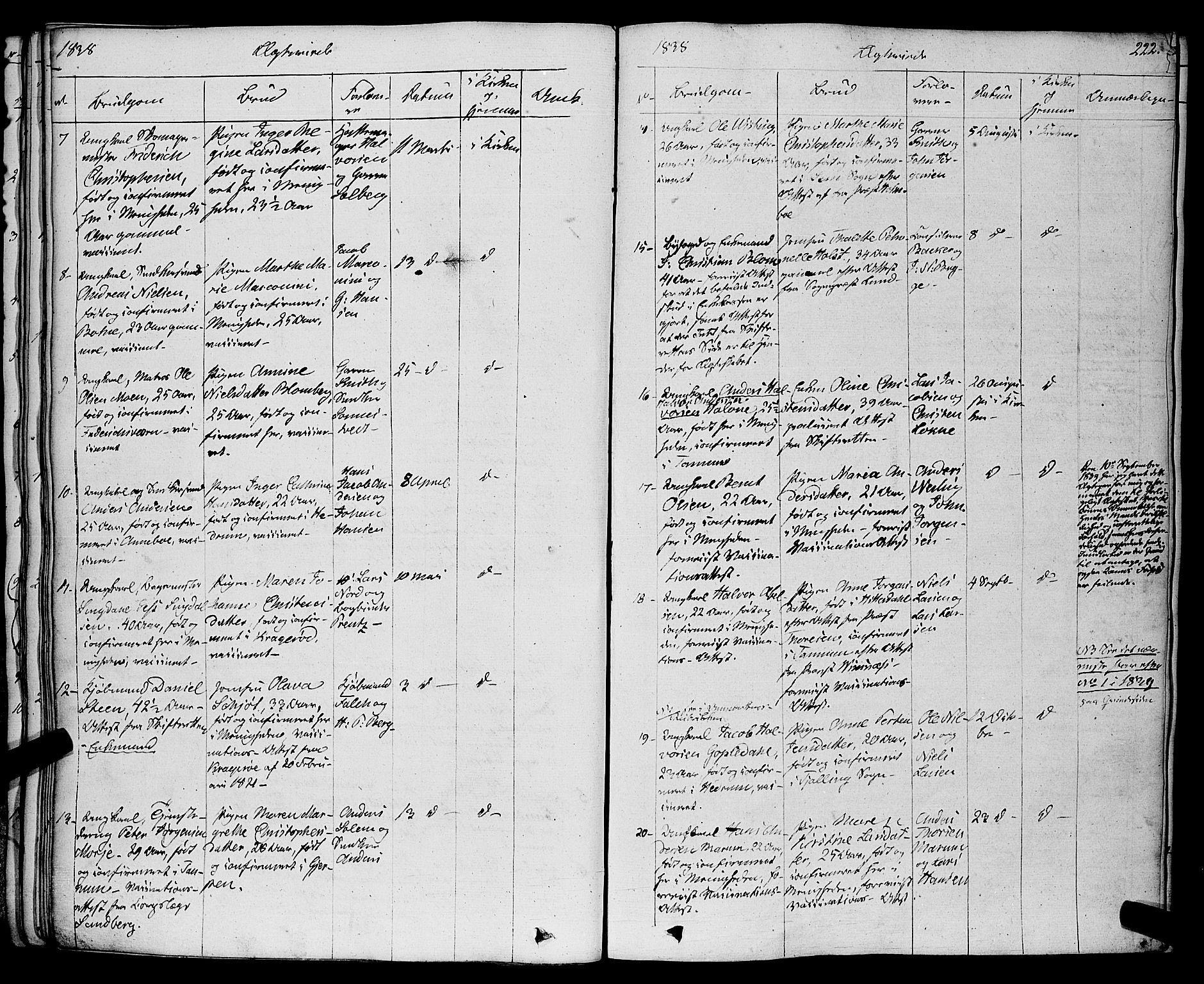 SAKO, Larvik kirkebøker, F/Fa/L0002: Ministerialbok nr. I 2, 1825-1847, s. 222
