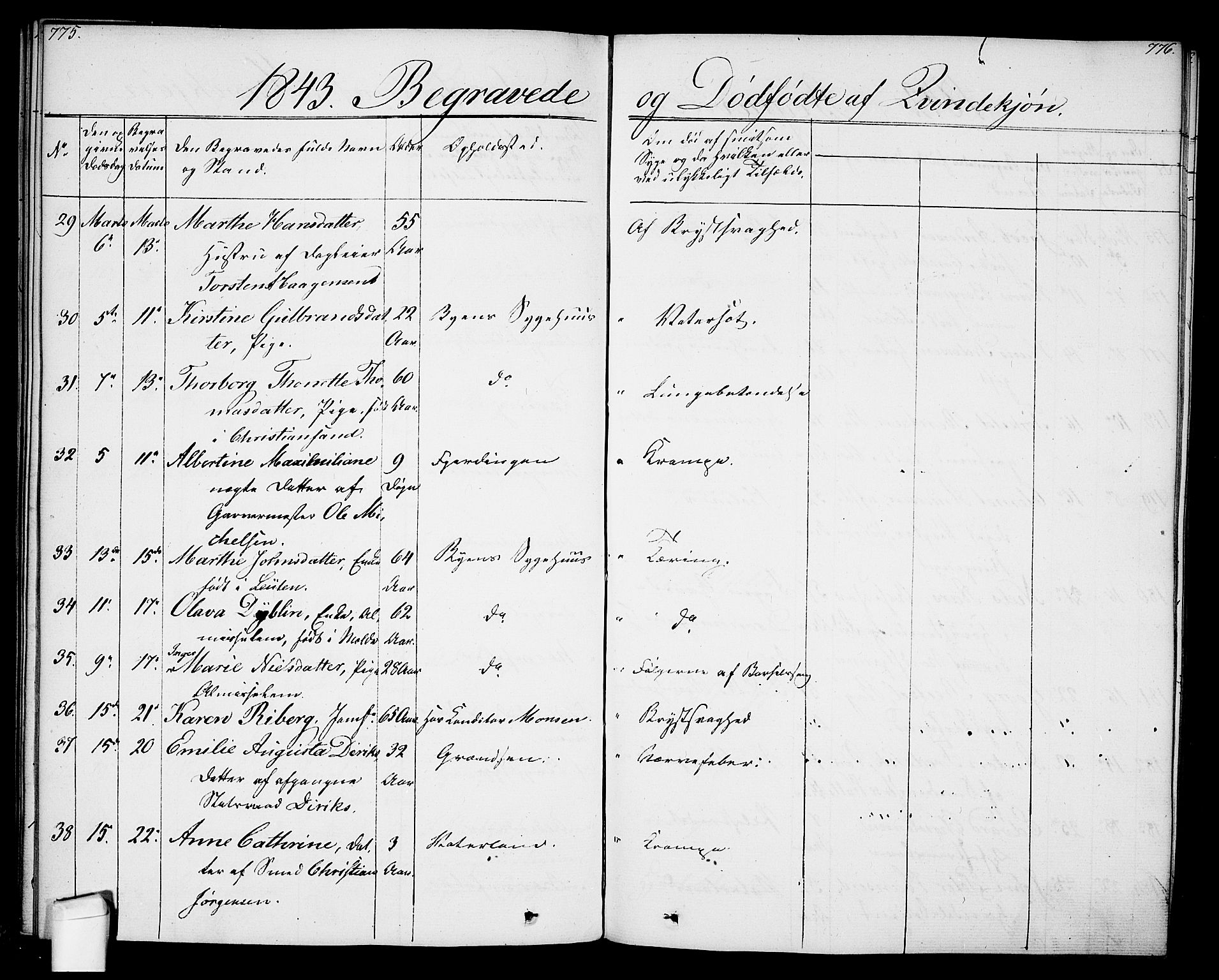 SAO, Oslo domkirke Kirkebøker, F/Fa/L0024: Ministerialbok nr. 24, 1833-1846, s. 775-776