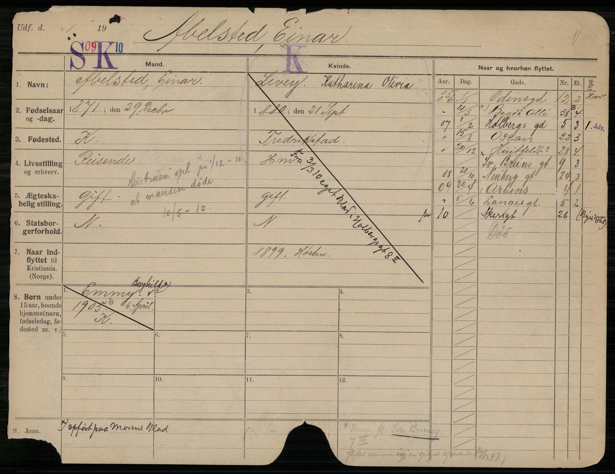 SAO, Oslo folkeregister, Registerkort, G/Gb/L0009: Menn, 1910