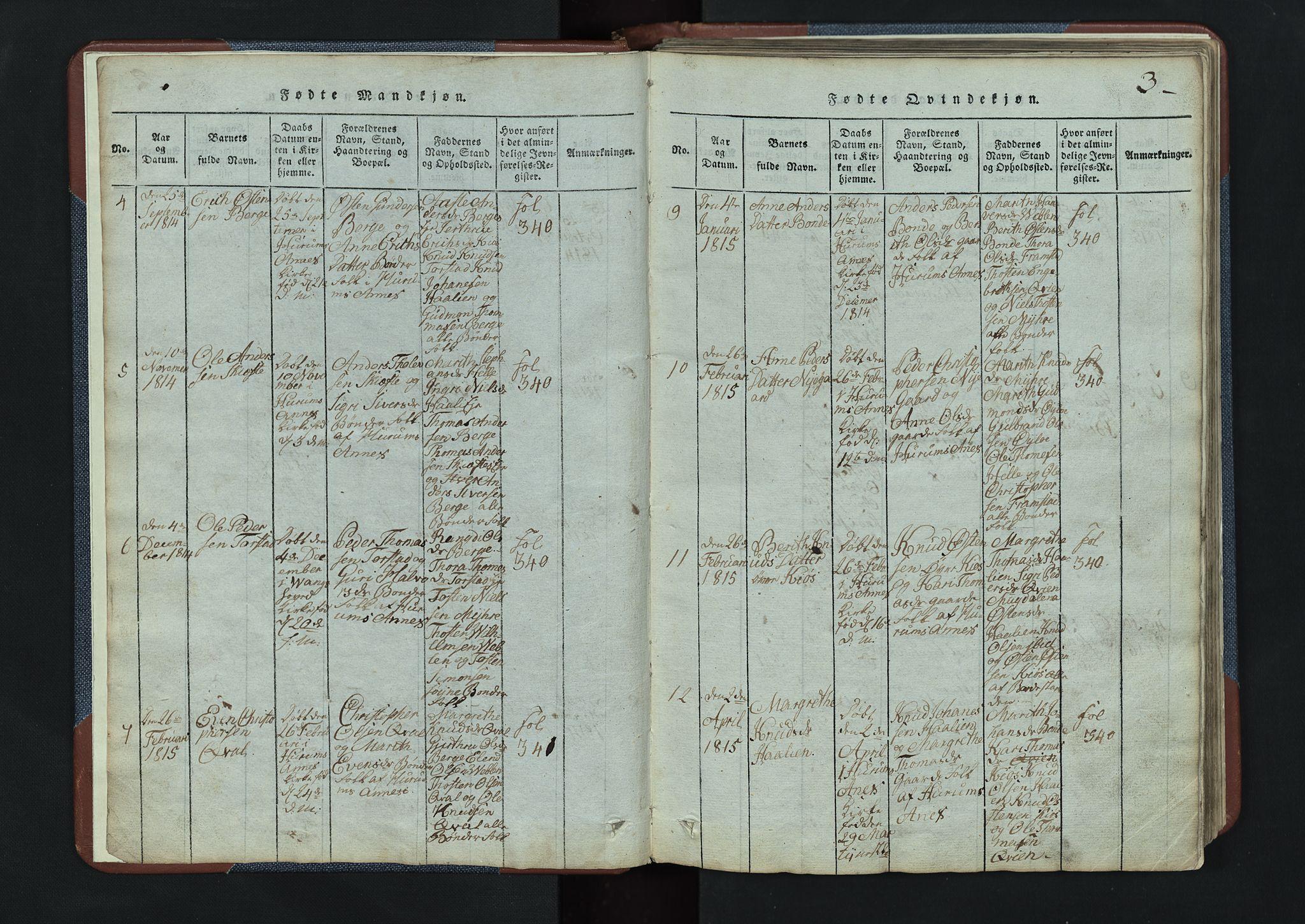 SAH, Vang prestekontor, Valdres, Klokkerbok nr. 3, 1814-1892, s. 3