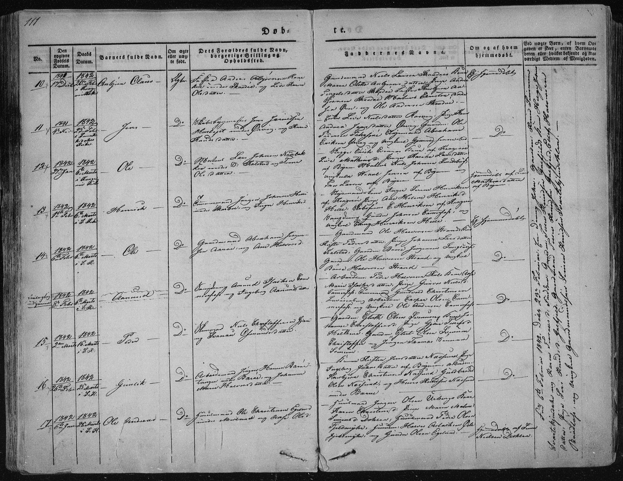 SAKO, Sannidal kirkebøker, F/Fa/L0006: Ministerialbok nr. 6, 1831-1847, s. 111