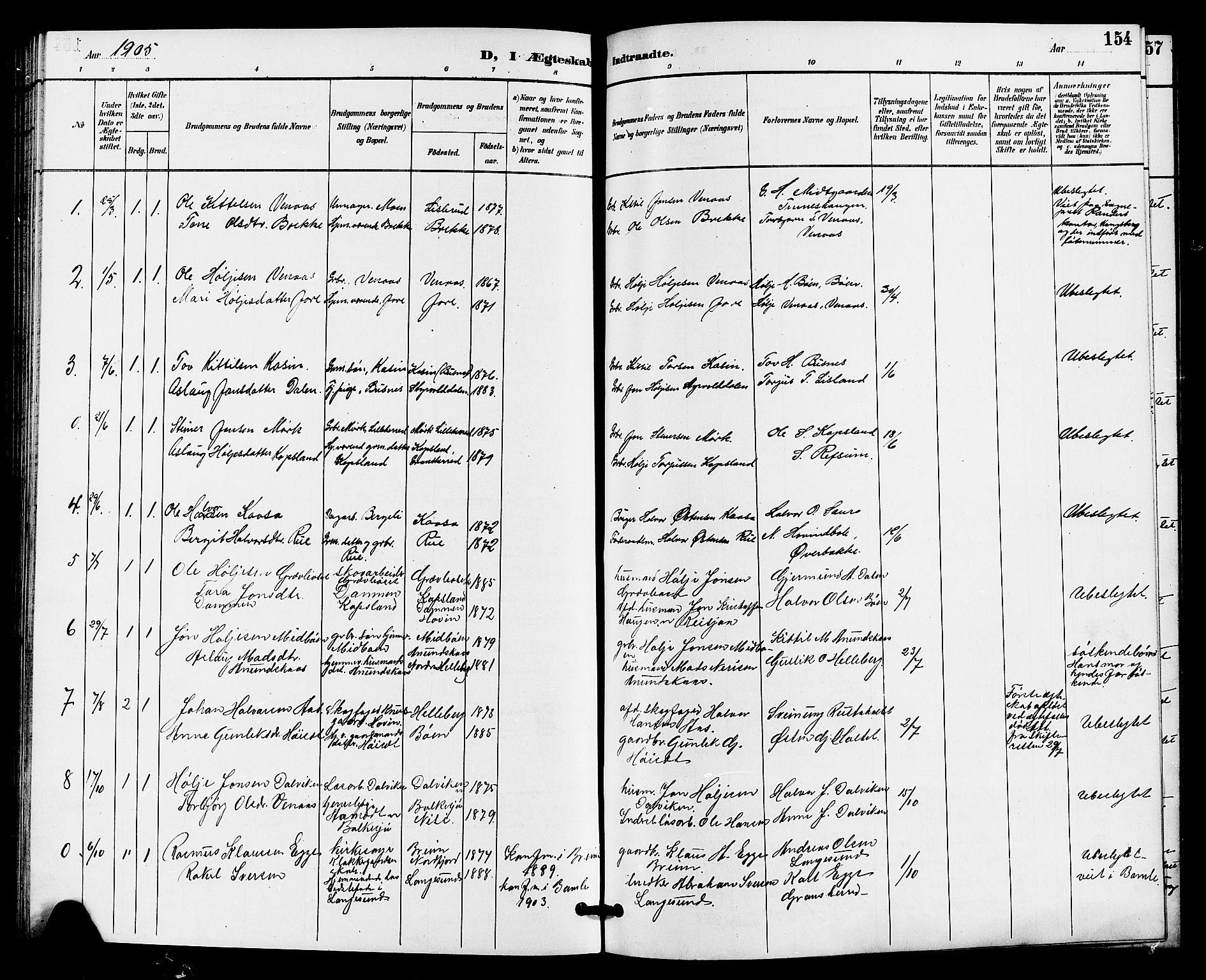 SAKO, Gransherad kirkebøker, G/Ga/L0003: Klokkerbok nr. I 3, 1887-1915, s. 154