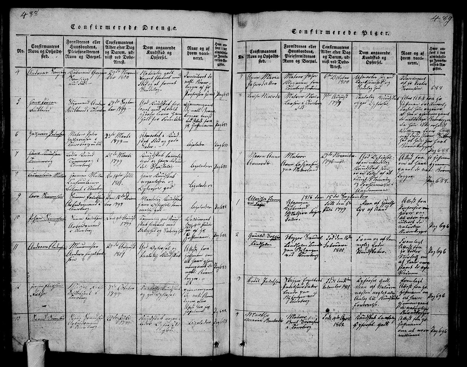 SAKO, Tønsberg kirkebøker, G/Ga/L0001: Klokkerbok nr. 1, 1813-1826, s. 488-489