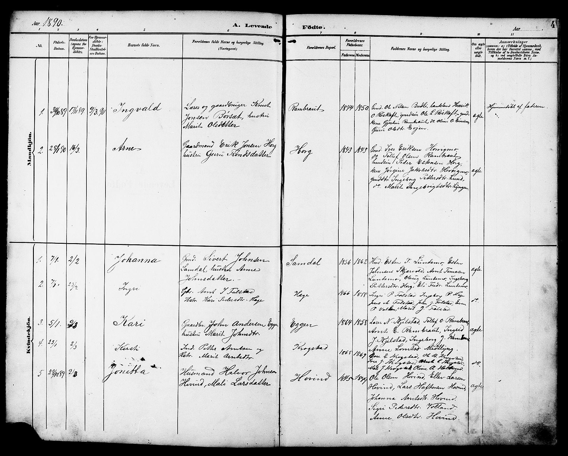 SAT, Ministerialprotokoller, klokkerbøker og fødselsregistre - Sør-Trøndelag, 692/L1111: Klokkerbok nr. 692C06, 1890-1904, s. 4