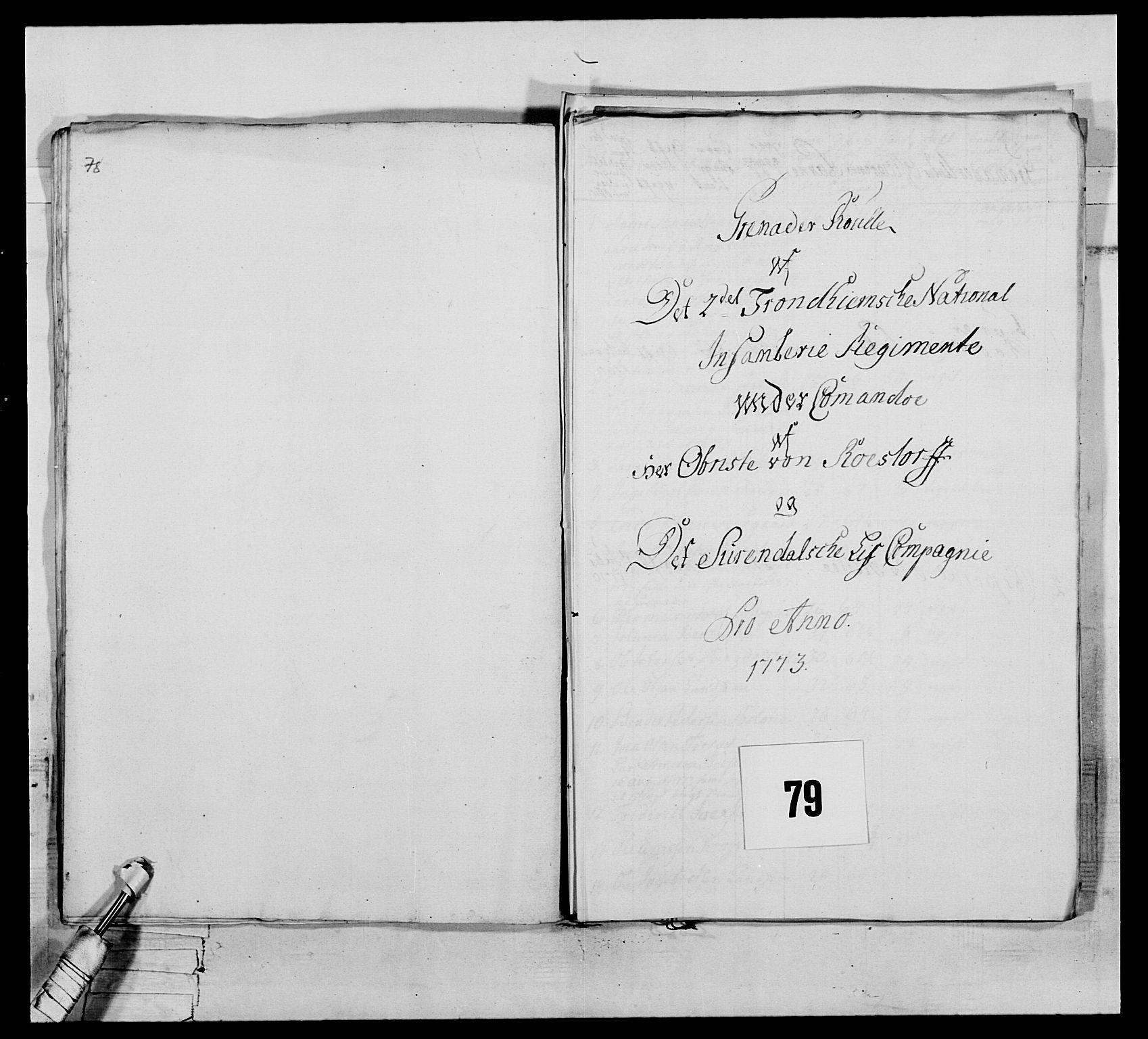 RA, Generalitets- og kommissariatskollegiet, Det kongelige norske kommissariatskollegium, E/Eh/L0076: 2. Trondheimske nasjonale infanteriregiment, 1766-1773, s. 414