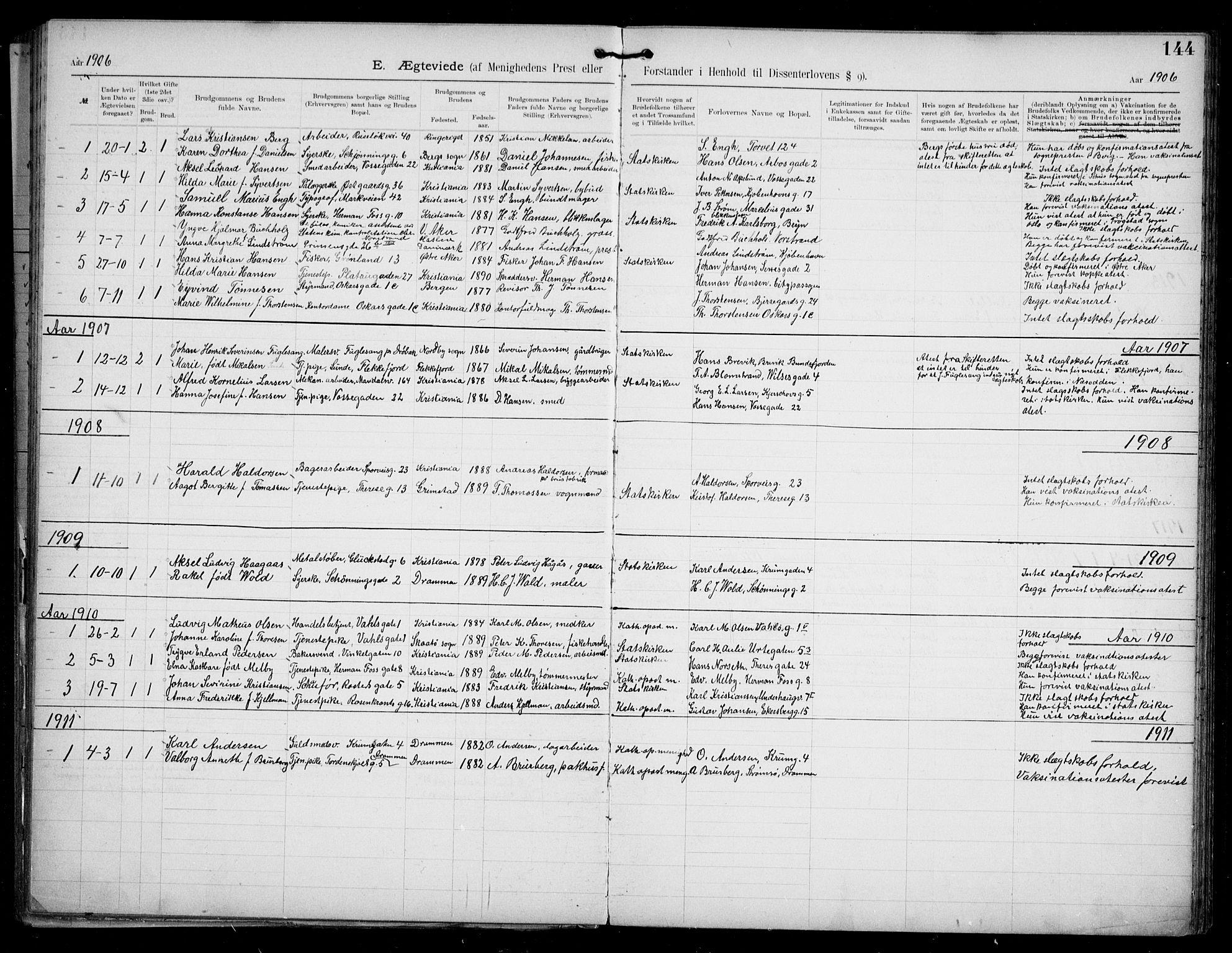 SAO, Den katolsk apostoliske menighet i Oslo , F/Fa/L0002: Dissenterprotokoll nr. 2, 1892-1937, s. 144