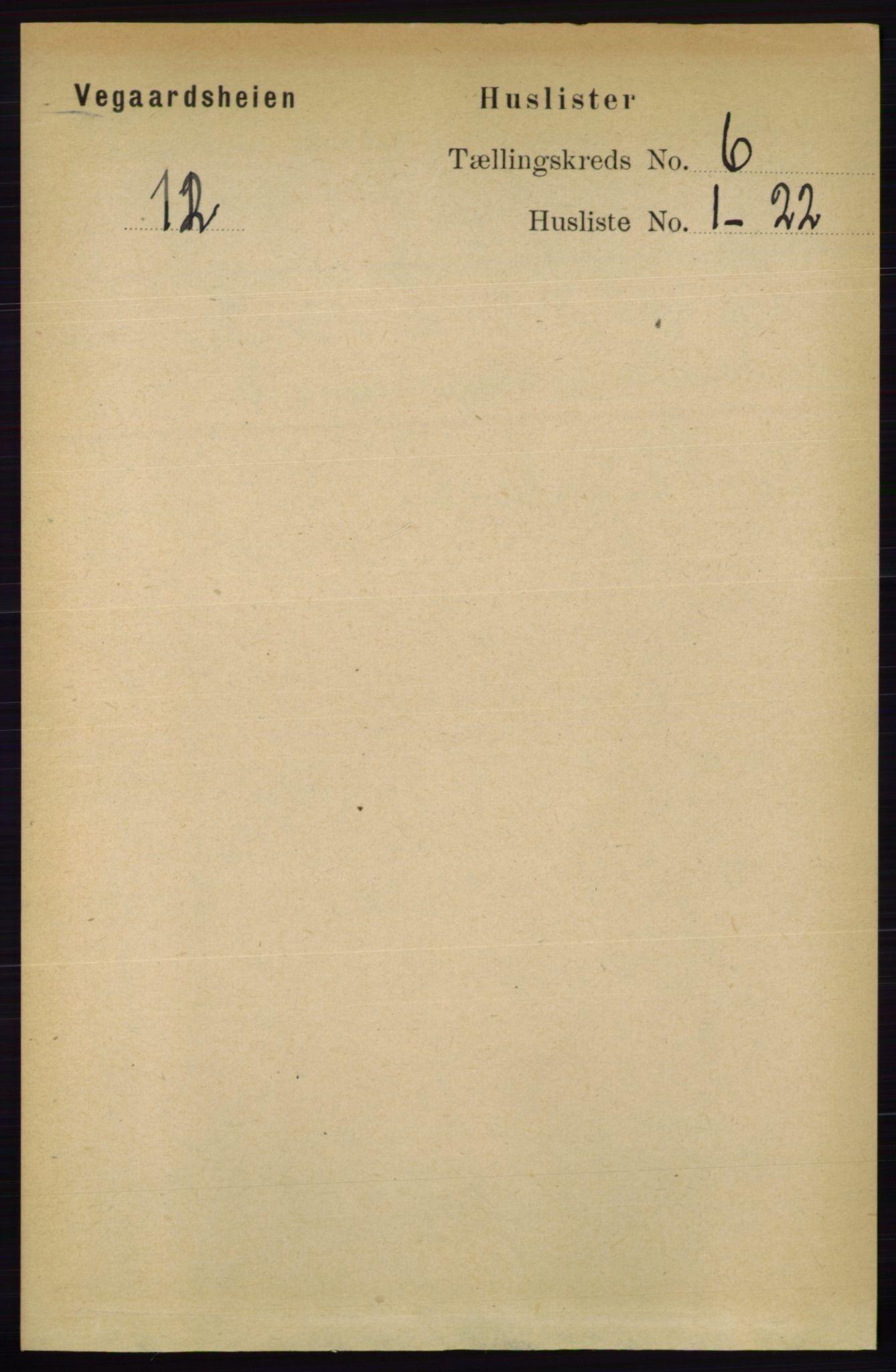 RA, Folketelling 1891 for 0912 Vegårshei herred, 1891, s. 1141