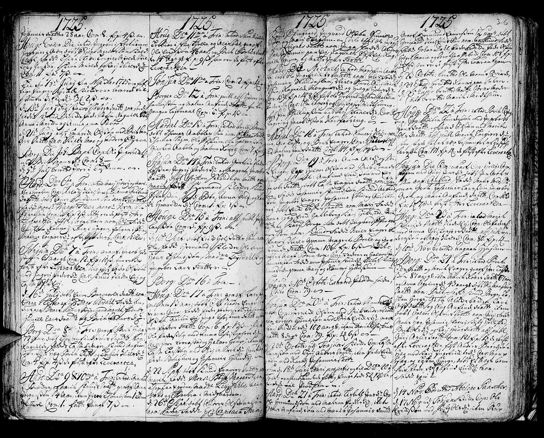 SAB, Lærdal Sokneprestembete, Ministerialbok nr. A 1, 1711-1752, s. 36