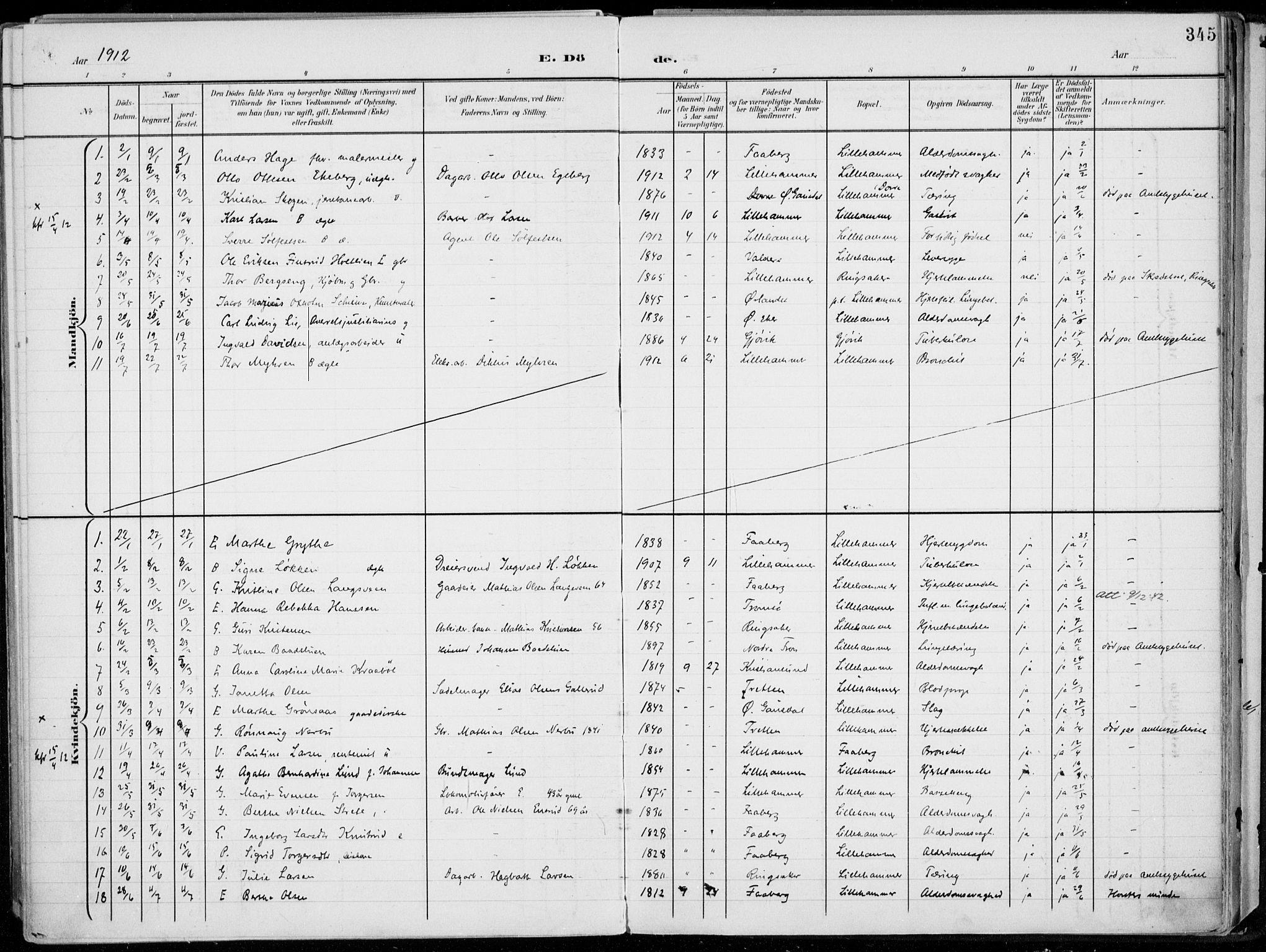 SAH, Lillehammer prestekontor, Ministerialbok nr. 1, 1901-1916, s. 345