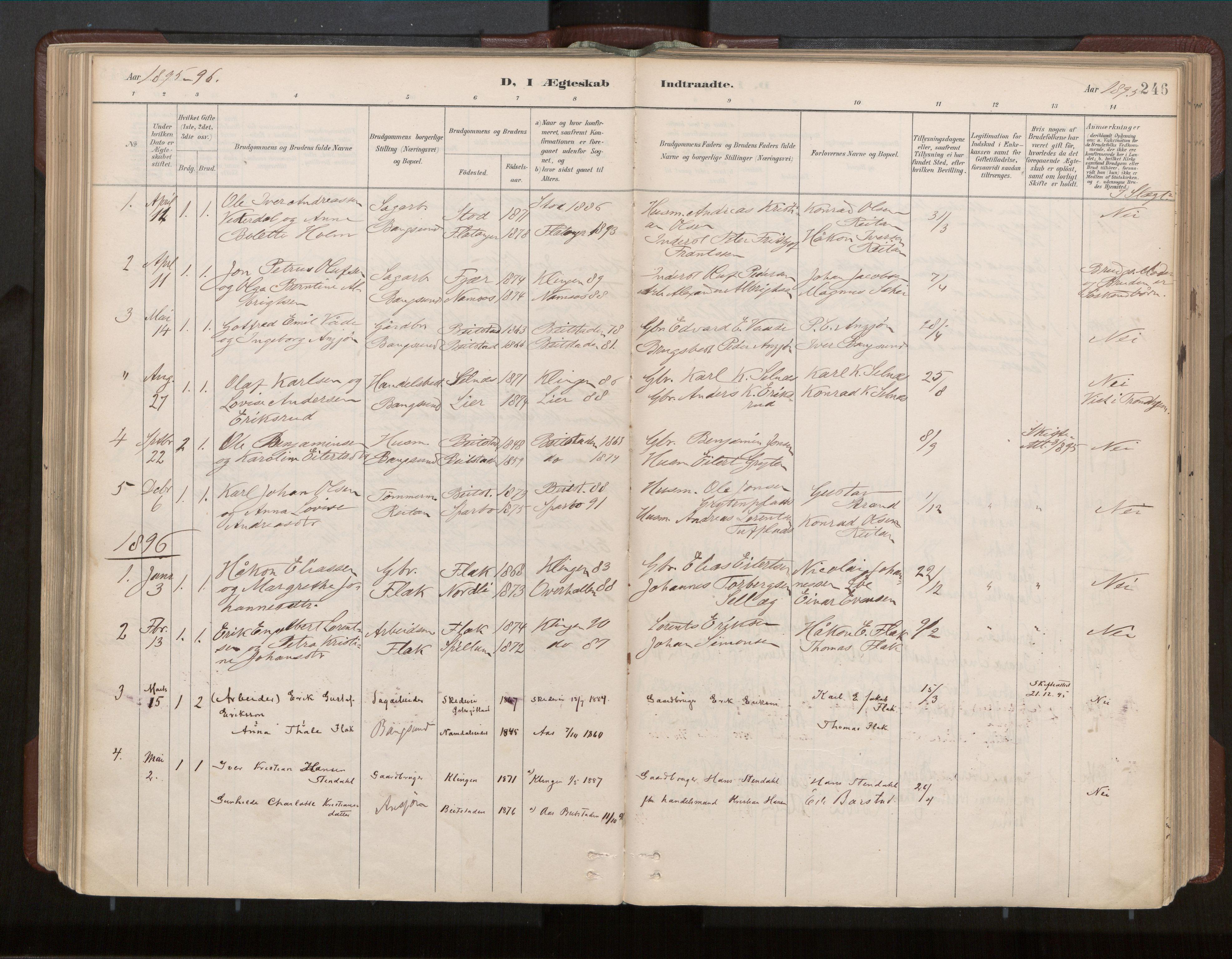 SAT, Ministerialprotokoller, klokkerbøker og fødselsregistre - Nord-Trøndelag, 770/L0589: Ministerialbok nr. 770A03, 1887-1929, s. 246