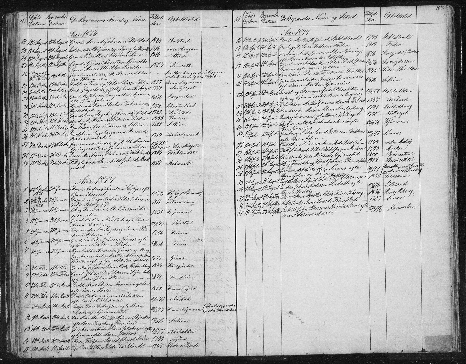 SAT, Ministerialprotokoller, klokkerbøker og fødselsregistre - Sør-Trøndelag, 616/L0406: Ministerialbok nr. 616A03, 1843-1879, s. 167