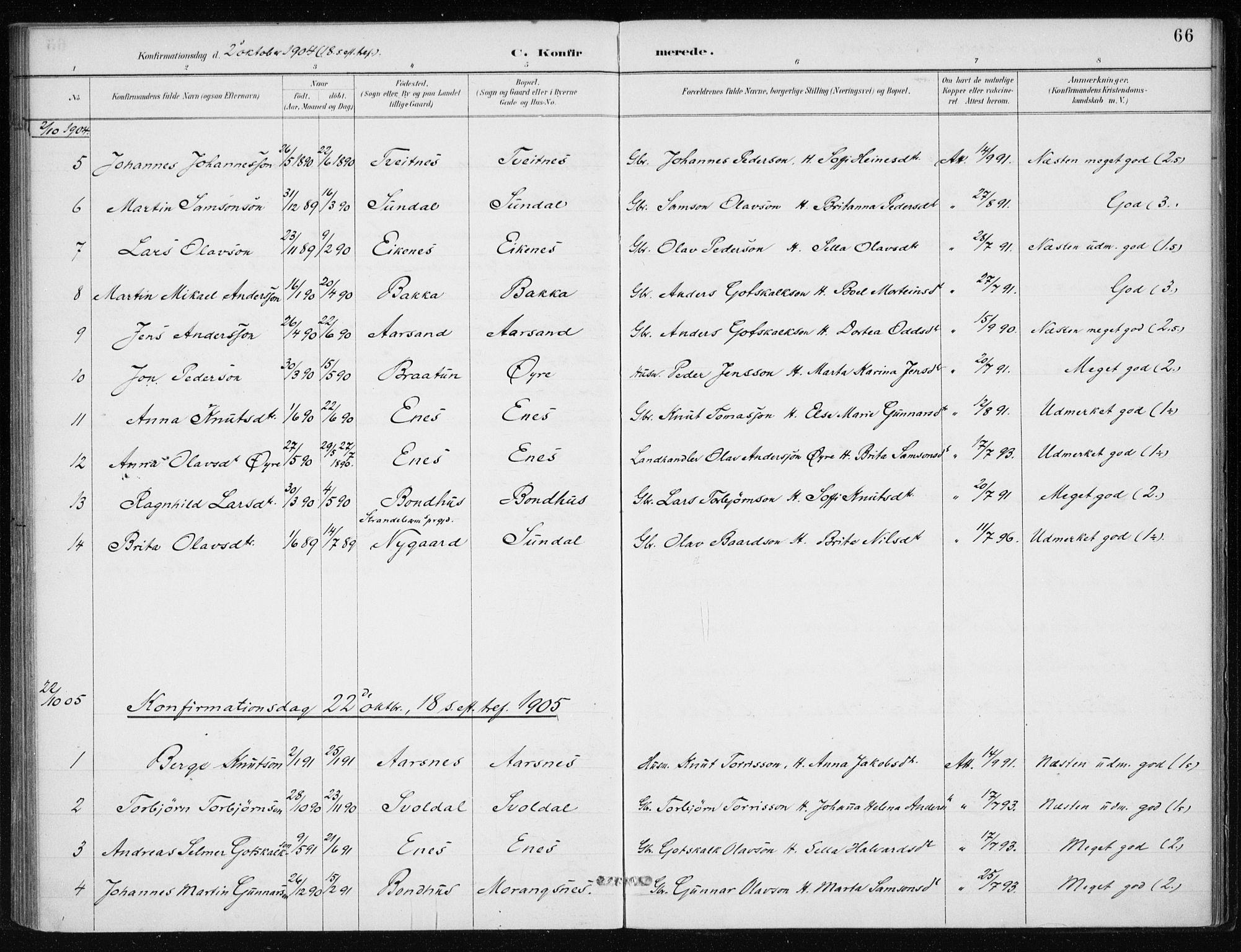 SAB, Kvinnherad Sokneprestembete, H/Haa: Ministerialbok nr. F 1, 1887-1912, s. 66